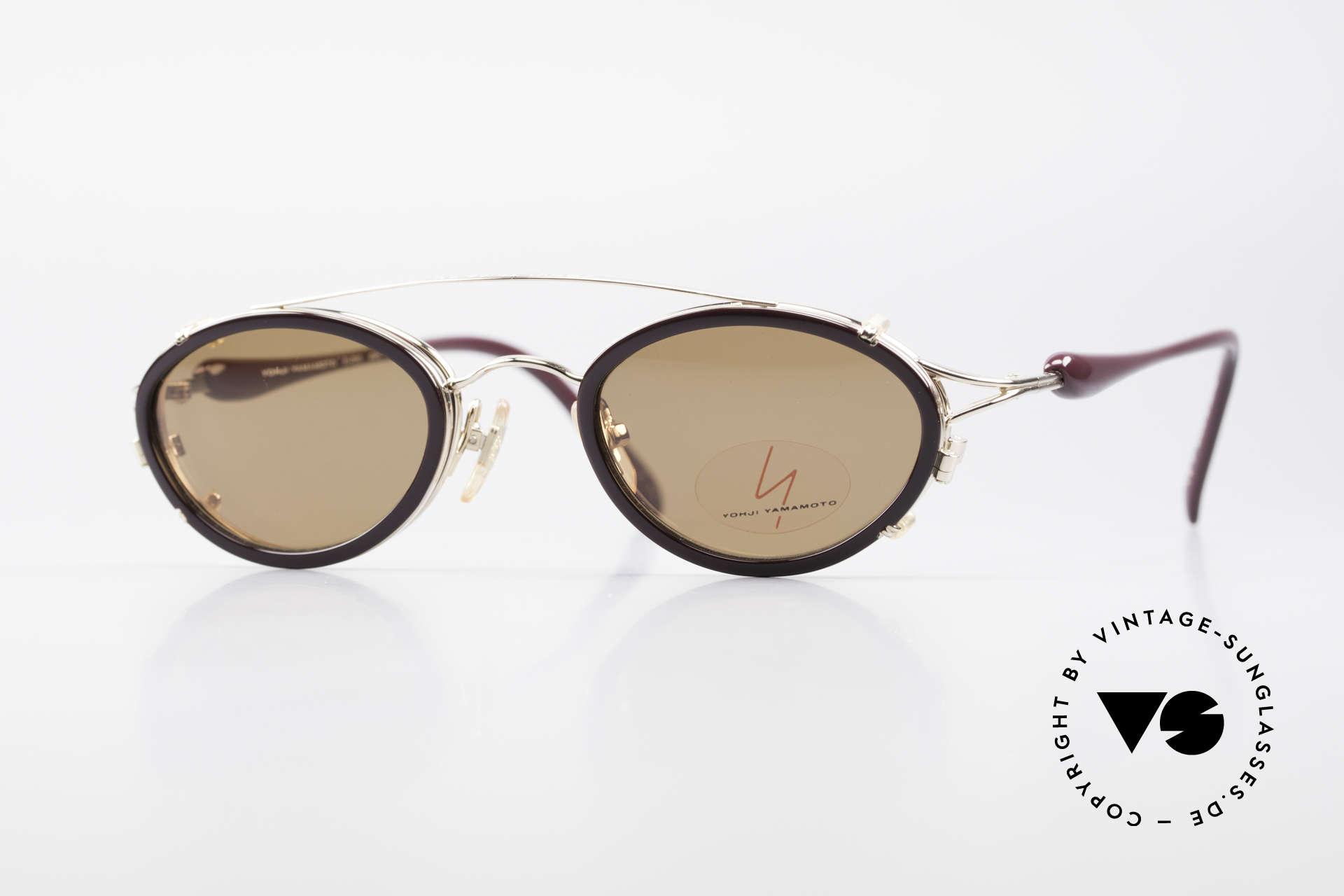 Yohji Yamamoto 51-7210 Clip-On 90's No Retro Frame, vintage 1990's sunglasses by Yohji Yamamoto, Japan, Made for Men and Women