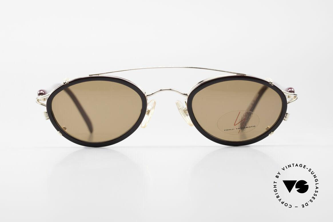 Yohji Yamamoto 51-7210 Clip-On 90's No Retro Frame, designer eyeglasses with practical sun clip; 100% UV, Made for Men and Women