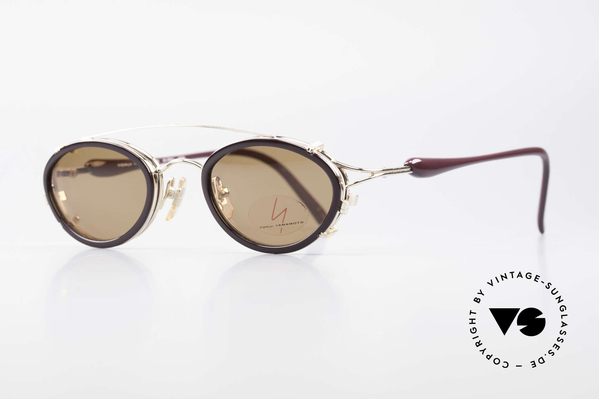 Yohji Yamamoto 51-7210 Clip-On 90's No Retro Frame, top-notch craftsmanship: GOLD PLATED metal frame, Made for Men and Women