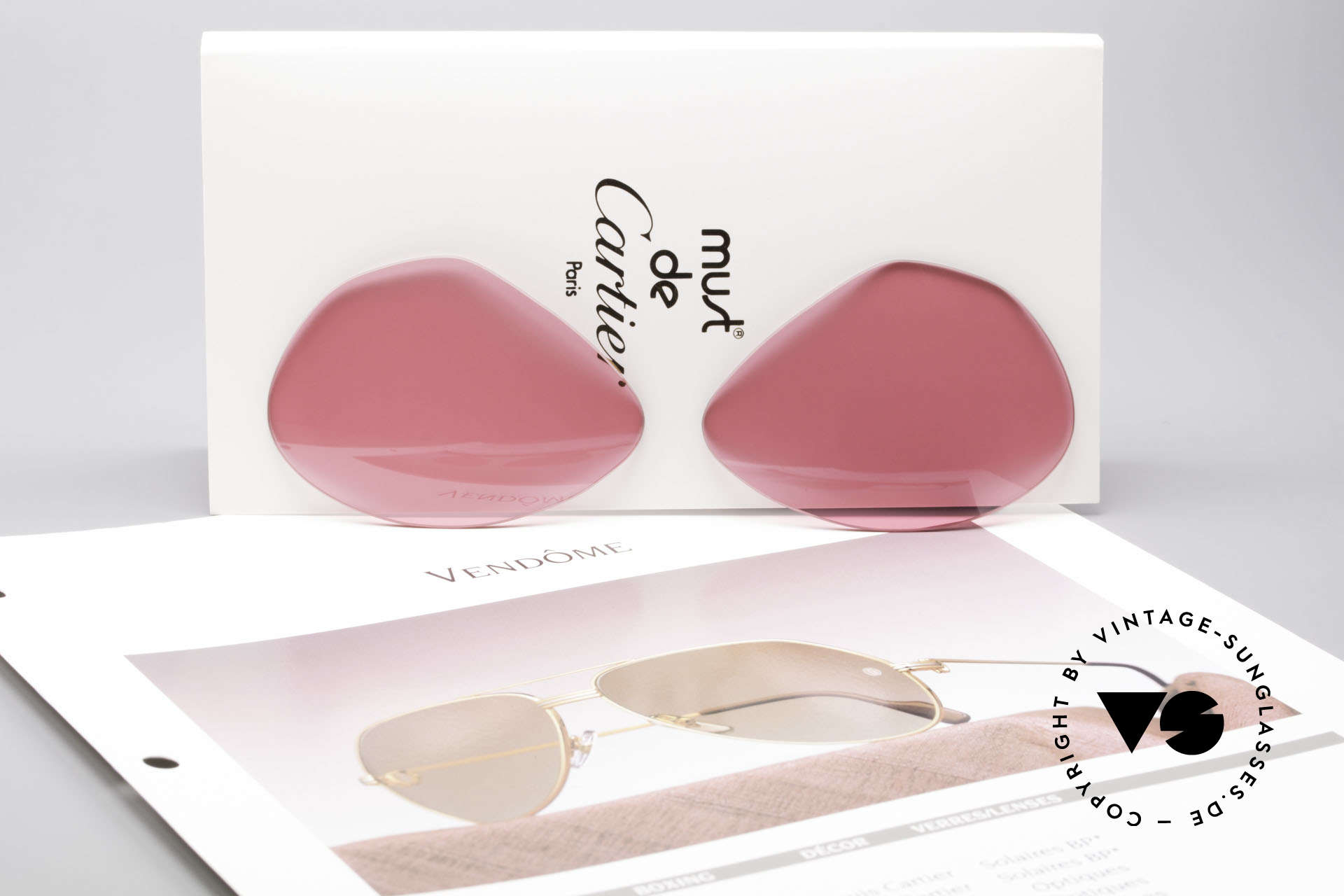 Cartier Vendome Lenses - L Pink Sun Lenses, pink tinted (so, you can see the world thru pink glasses), Made for Men