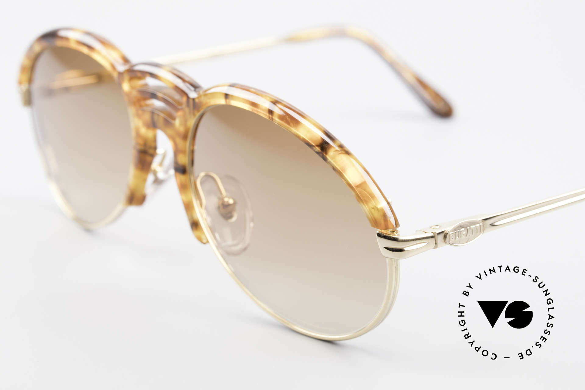 Bugatti 15287 Amber Optic Sunglasses 80's, high-end quality & 1st class comfort (spring temples), Made for Men