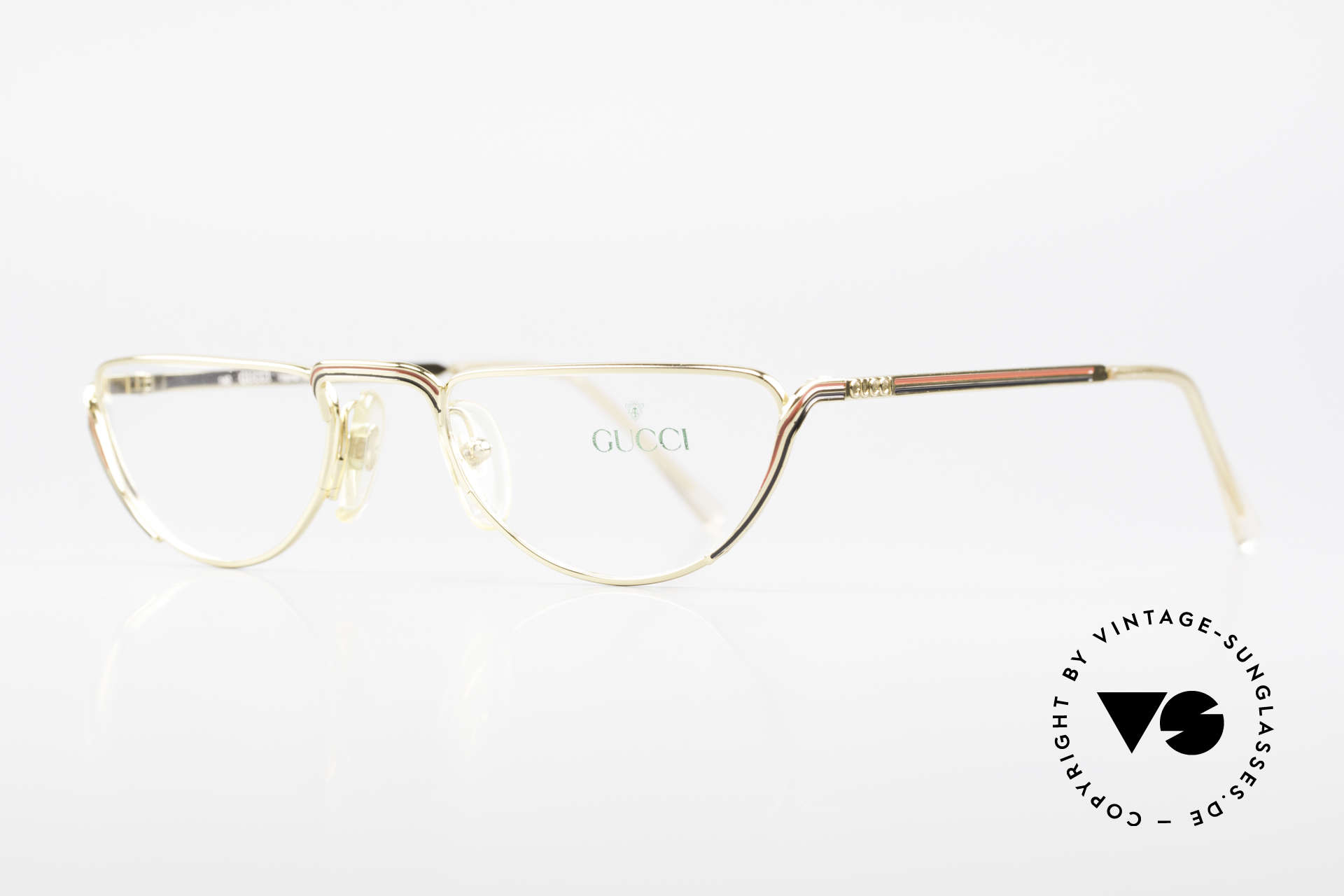 "Gucci 2203 80's Vintage Reading Glasses, gold frame with ""Gucci stripes"" in red and black, Made for Women"