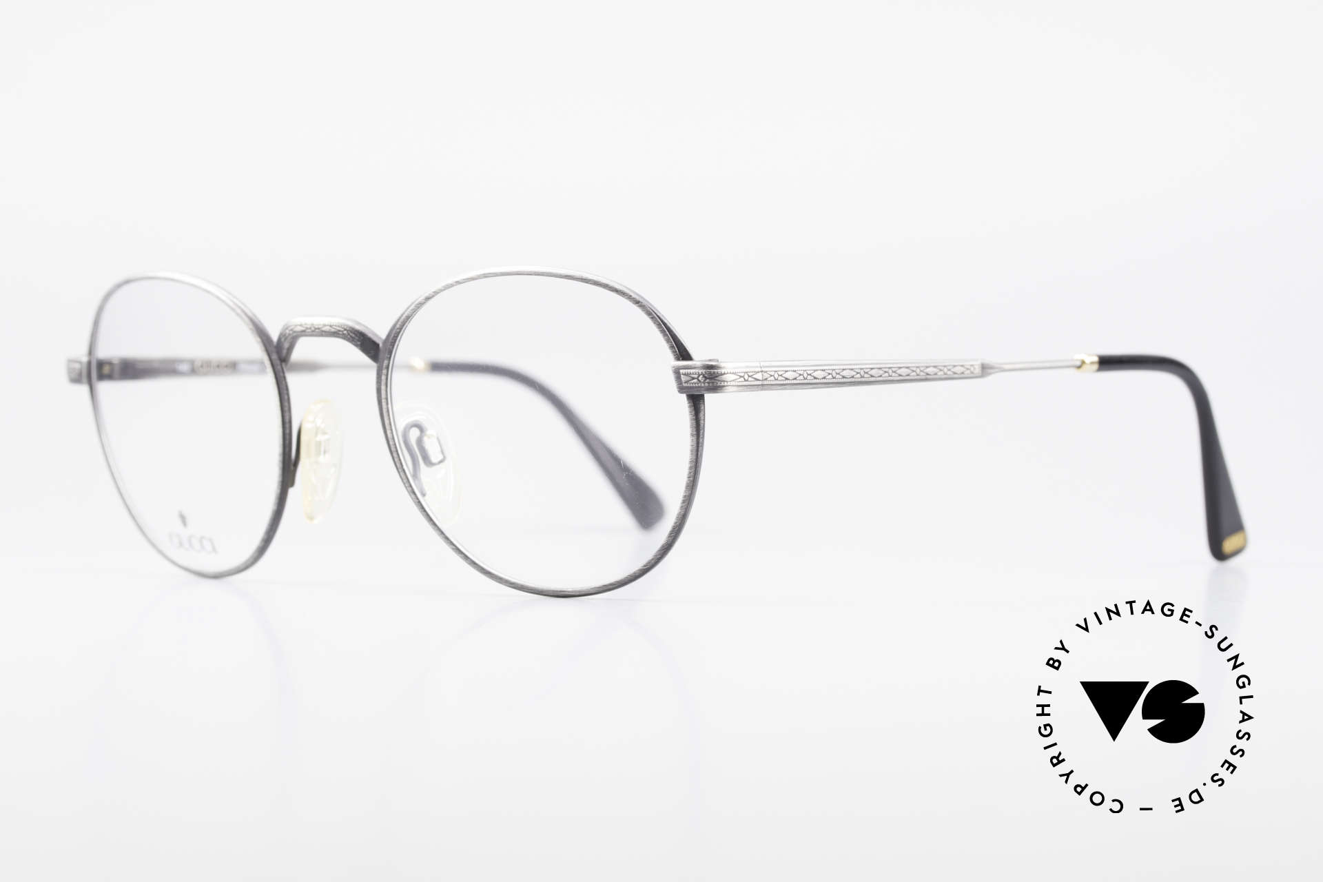 "Gucci 1226 Classic 80's Panto Eyeglasses, ""antique metal"" frame finish with engravings, Made for Men and Women"
