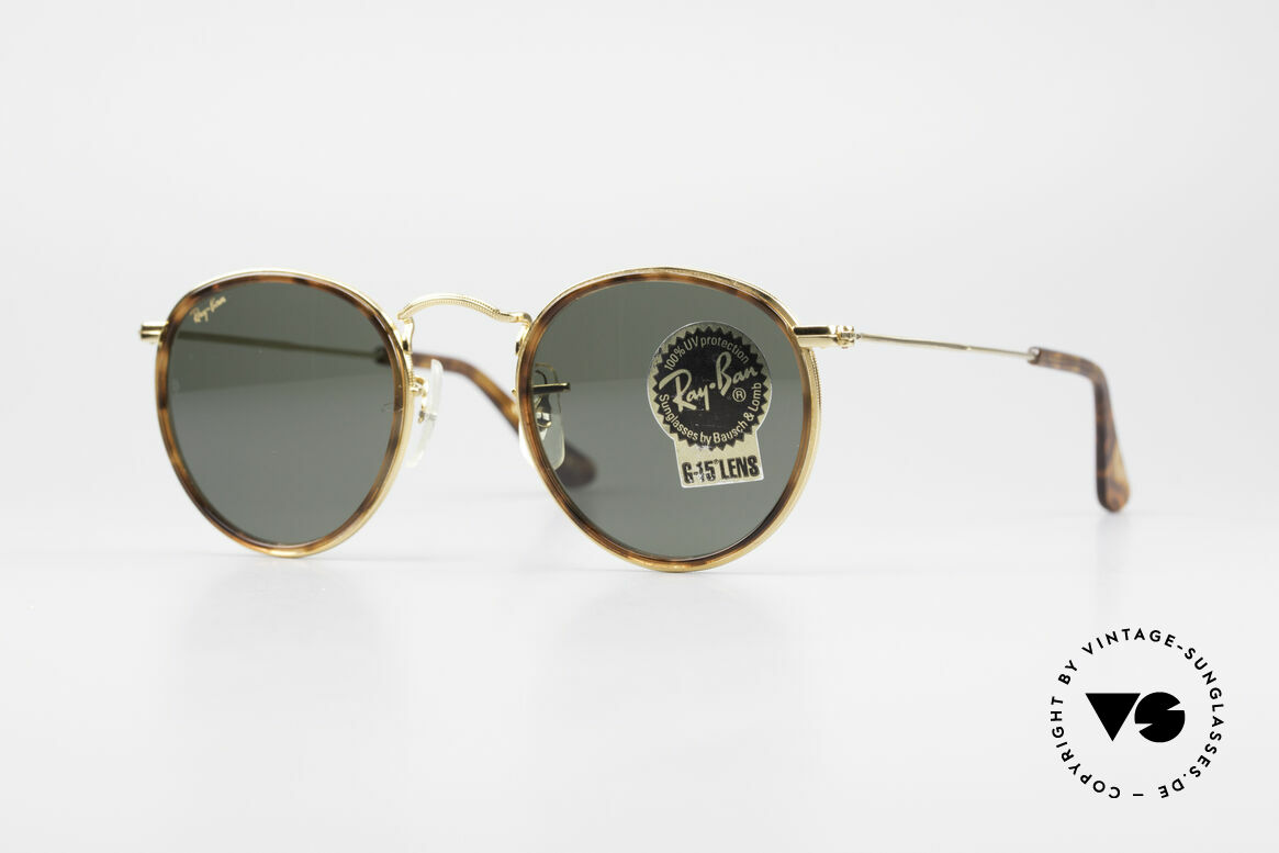 Ray Ban Round Metal 47 Small Round Shades Havana, small round 1980's Ray-Ban B&L vintage sunglasses, Made for Men and Women