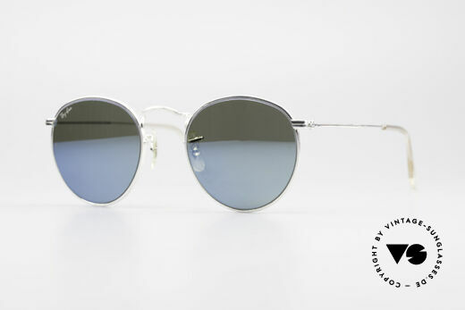 Ray Ban Round Metal 47 Blue Mirrored B&L USA Shades Details
