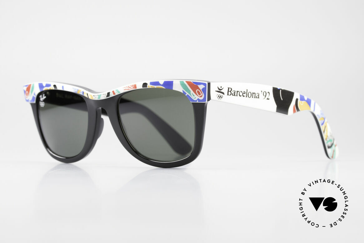 Ray Ban Wayfarer I Olympic Games Barcelona, B&L quality mineral lenses (for 100% UV-protection), Made for Men and Women