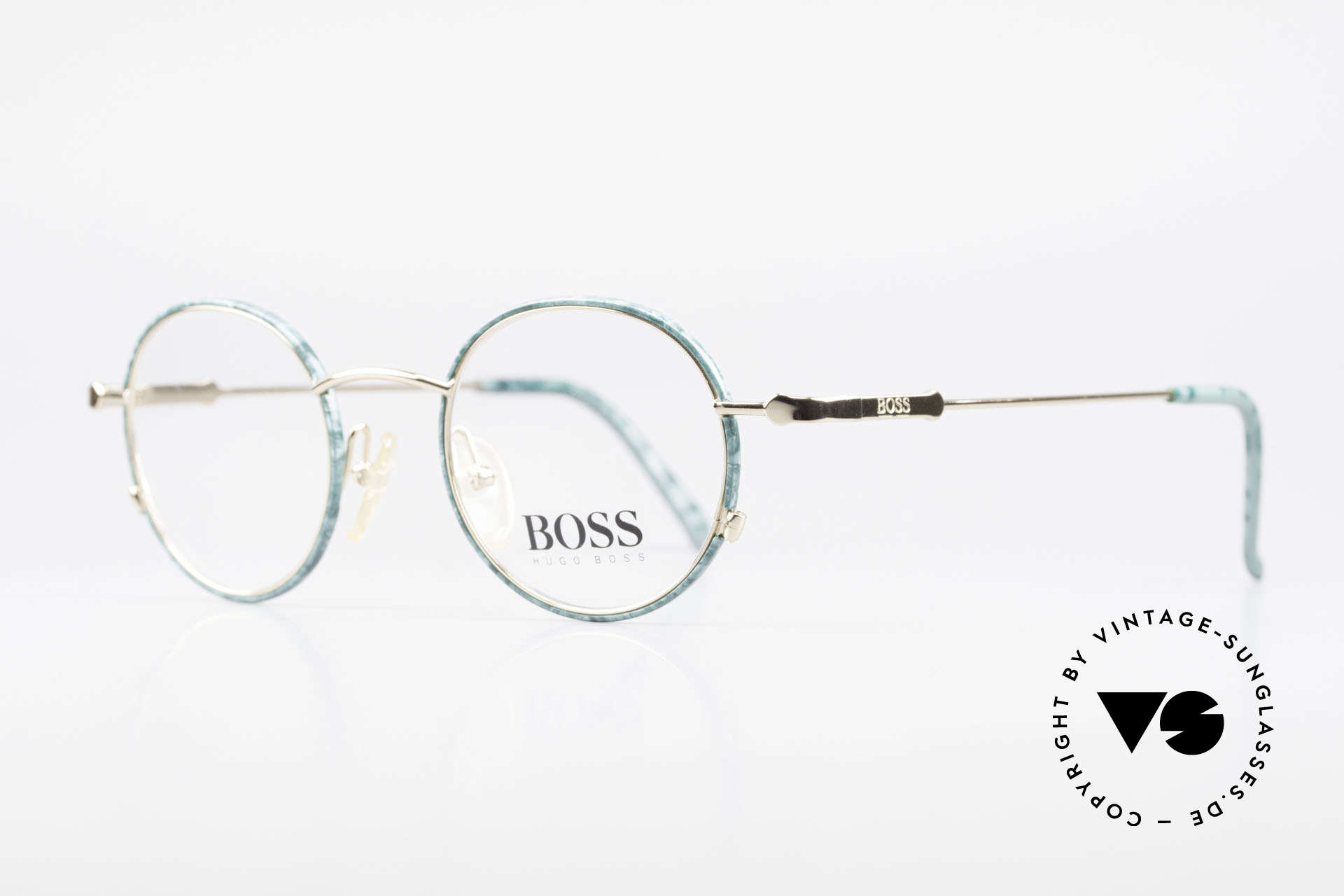 BOSS 5148 Round Panto Eyeglass Frame, dressy color combination: green marbled / GOLD, Made for Men and Women
