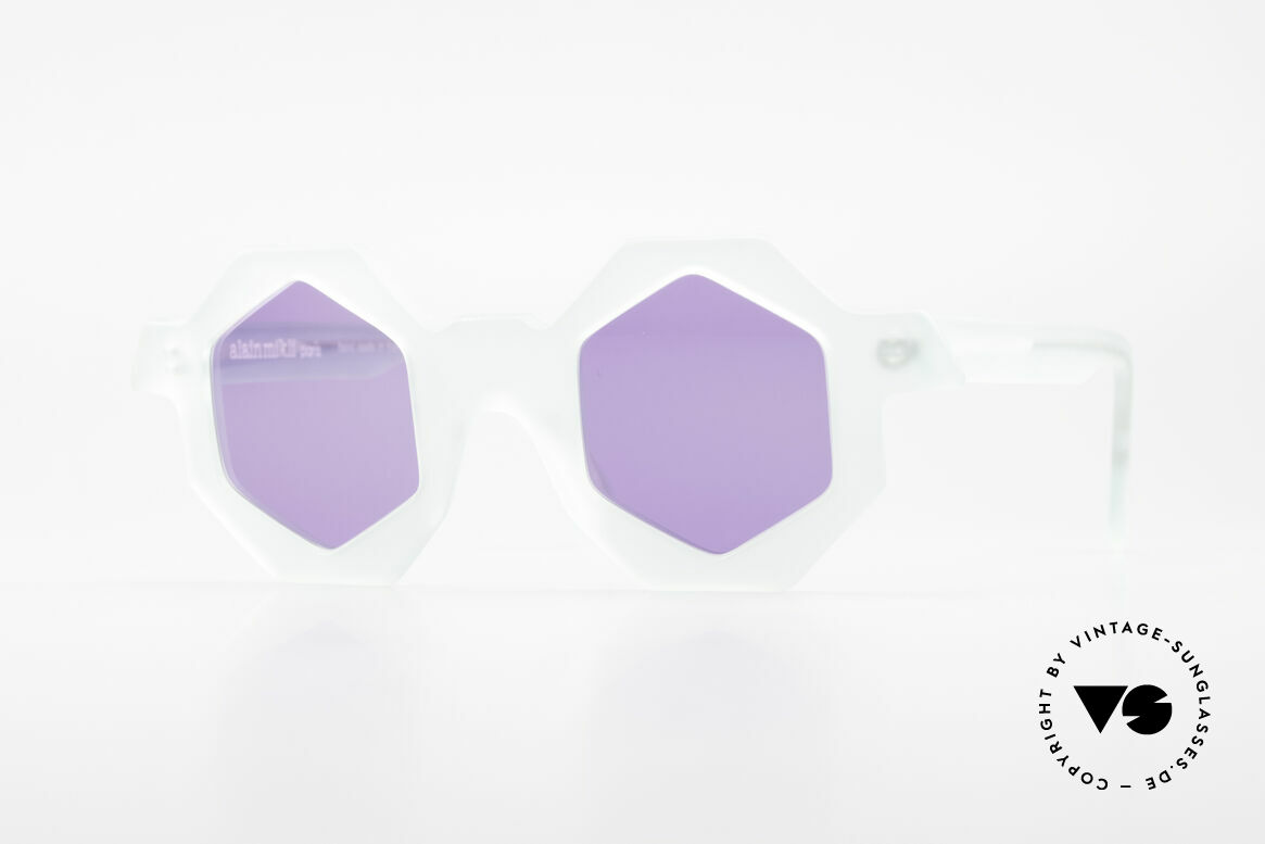 Alain Mikli 0157 / 932 Hexagonal Sunglasses 80's, multi-angular designer sunglasses by Alain Mikli, Made for Women