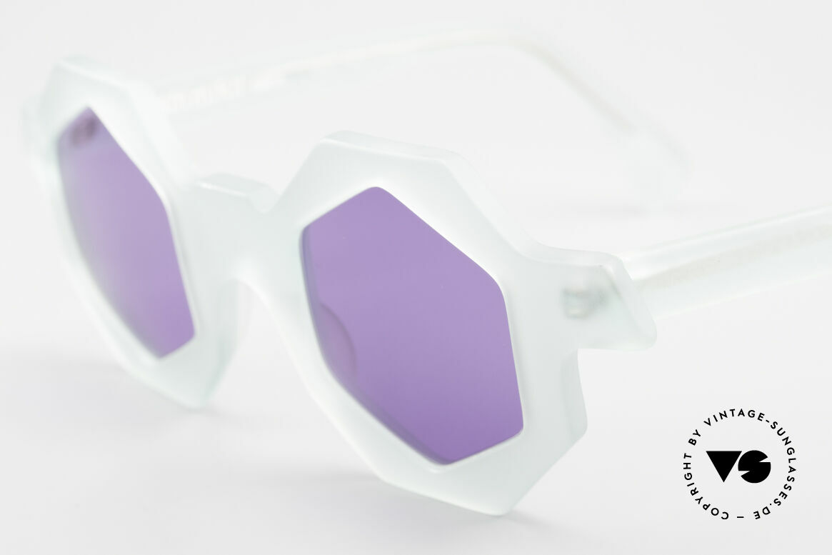 Alain Mikli 0157 / 932 Hexagonal Sunglasses 80's, bluish-translucent frame with purple sun lenses, Made for Women
