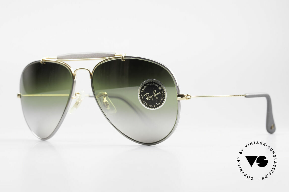 Ray Ban Outdoorsman Precious Greenish Mirrored, titanium frame and 24kt gold-plated components, Made for Men and Women