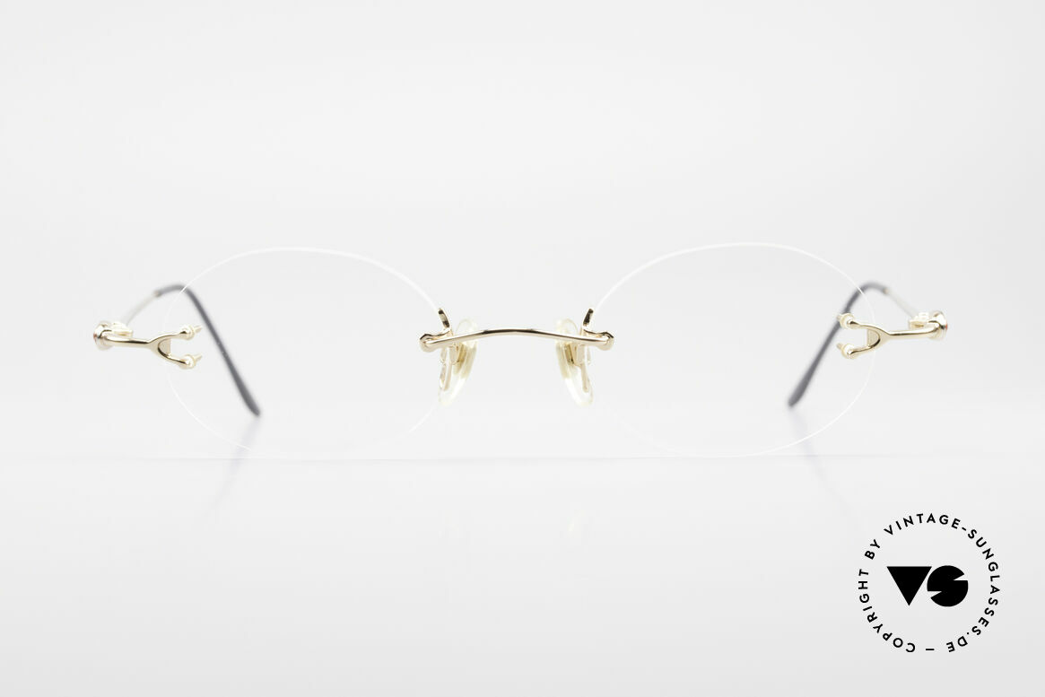 Bugatti 15308 Rimless Luxury Glasses Oval, original, vintage rimless eyeglass-frame by Bugatti, Made for Men and Women