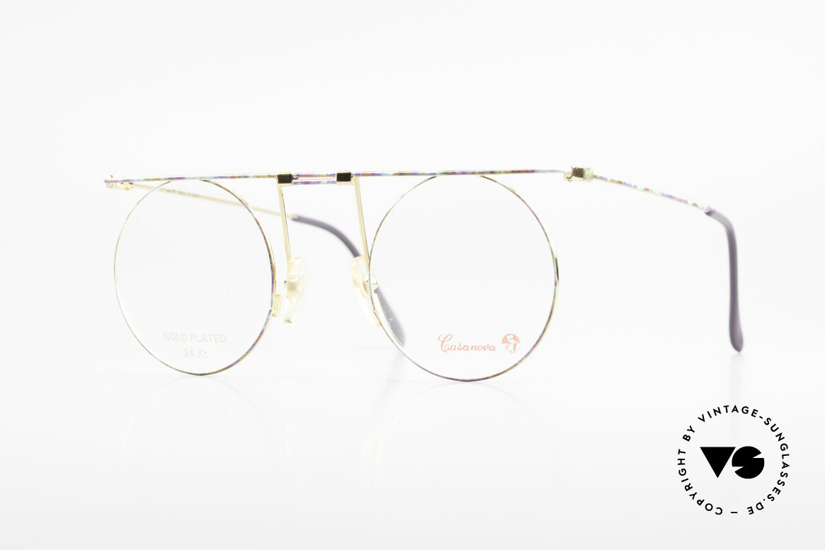 Casanova MTC 7 24Kt Gold Plated Frame, extraordinary Casanova eyeglasses from around 1985, Made for Women