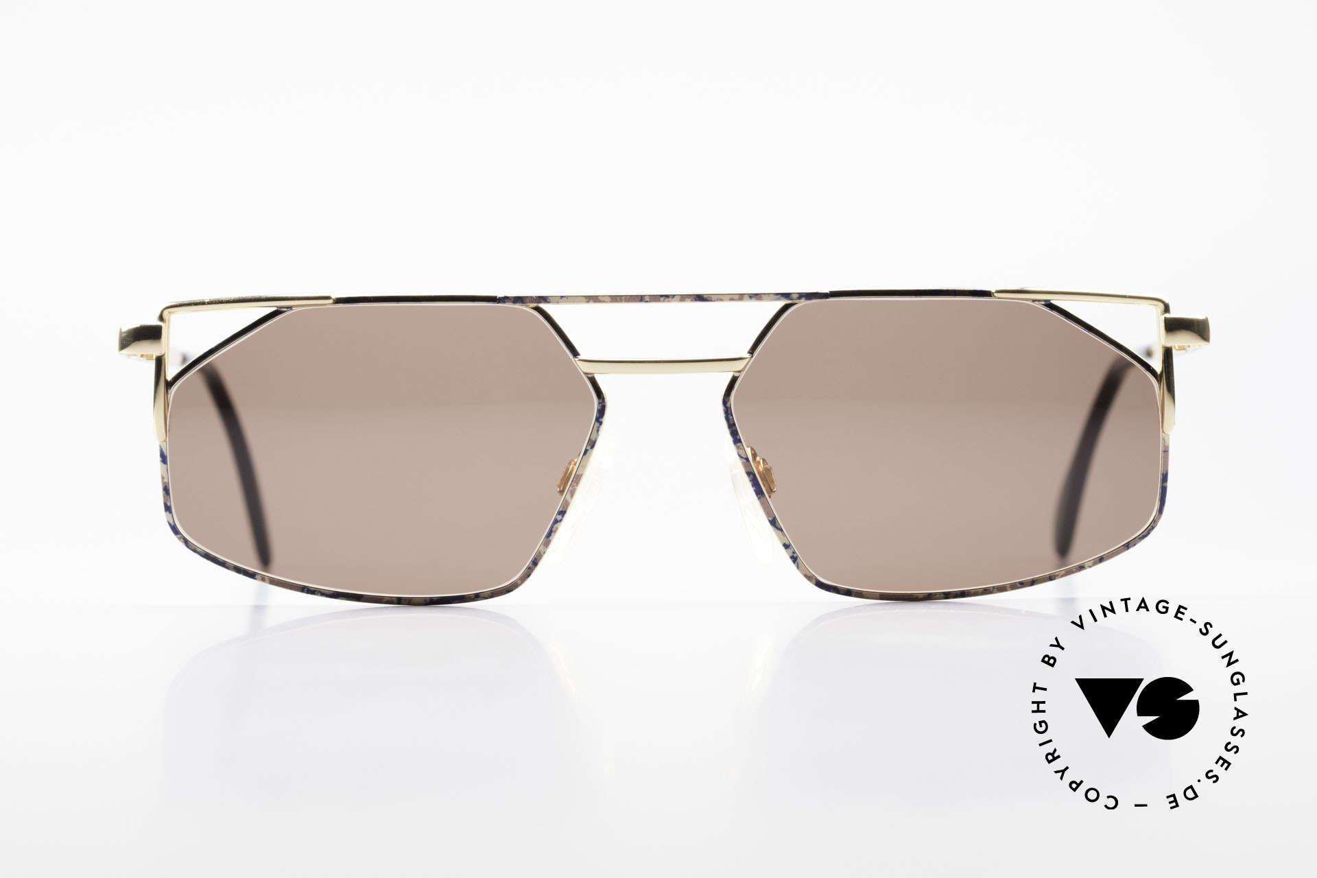 Cazal 751 Rare 90's Designer Sunglasses, angled metal designer frame with high-grade finish, Made for Men