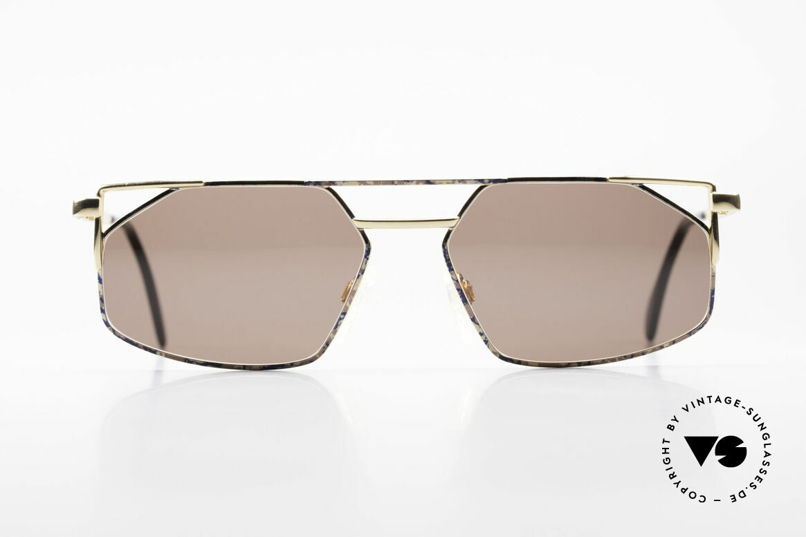 Cazal 751 Rare 90's Designer Sunglasses, angled metal designer frame with high-grade finish, Made for Men