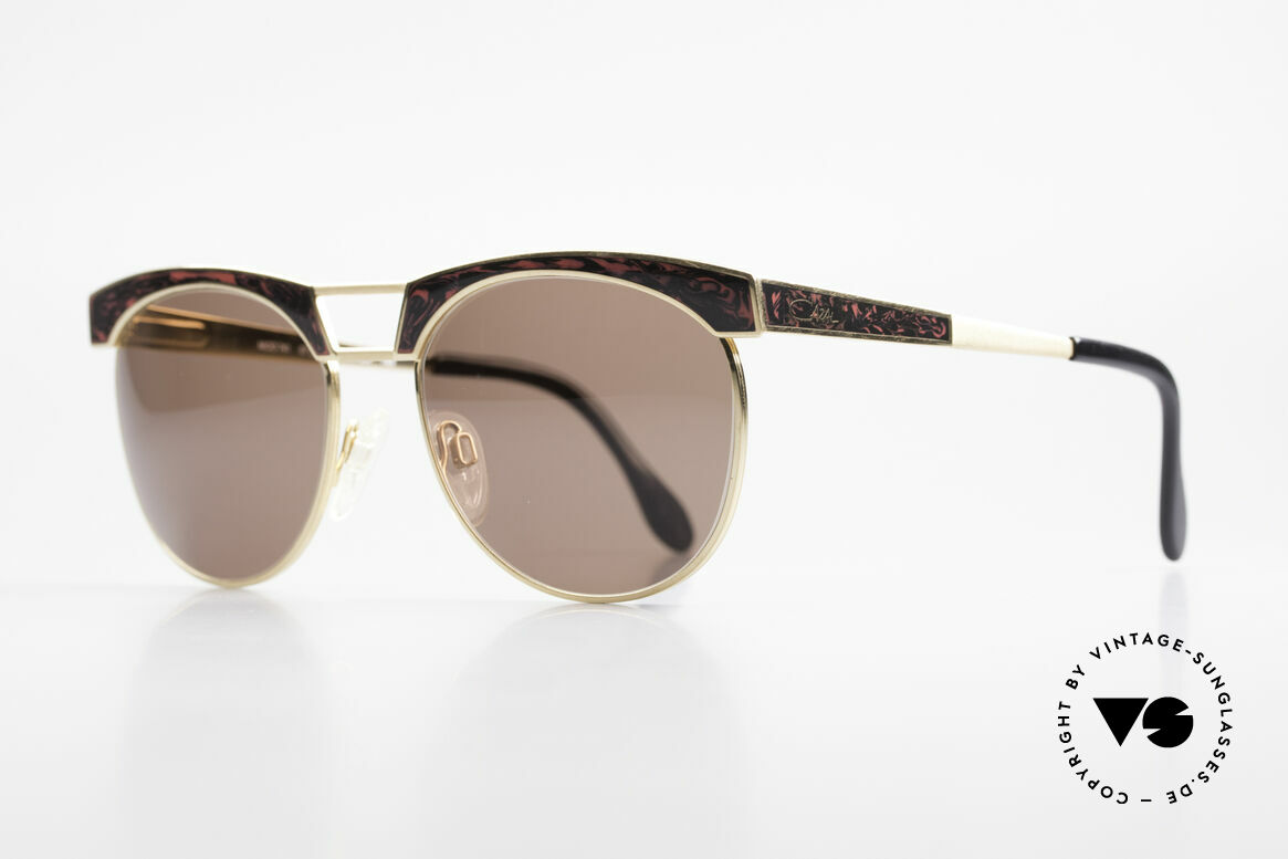 "Cazal 741 Panto Style 90's Sunglasses, costly ""root-wood marbled"" appliqué on front & temples, Made for Men and Women"