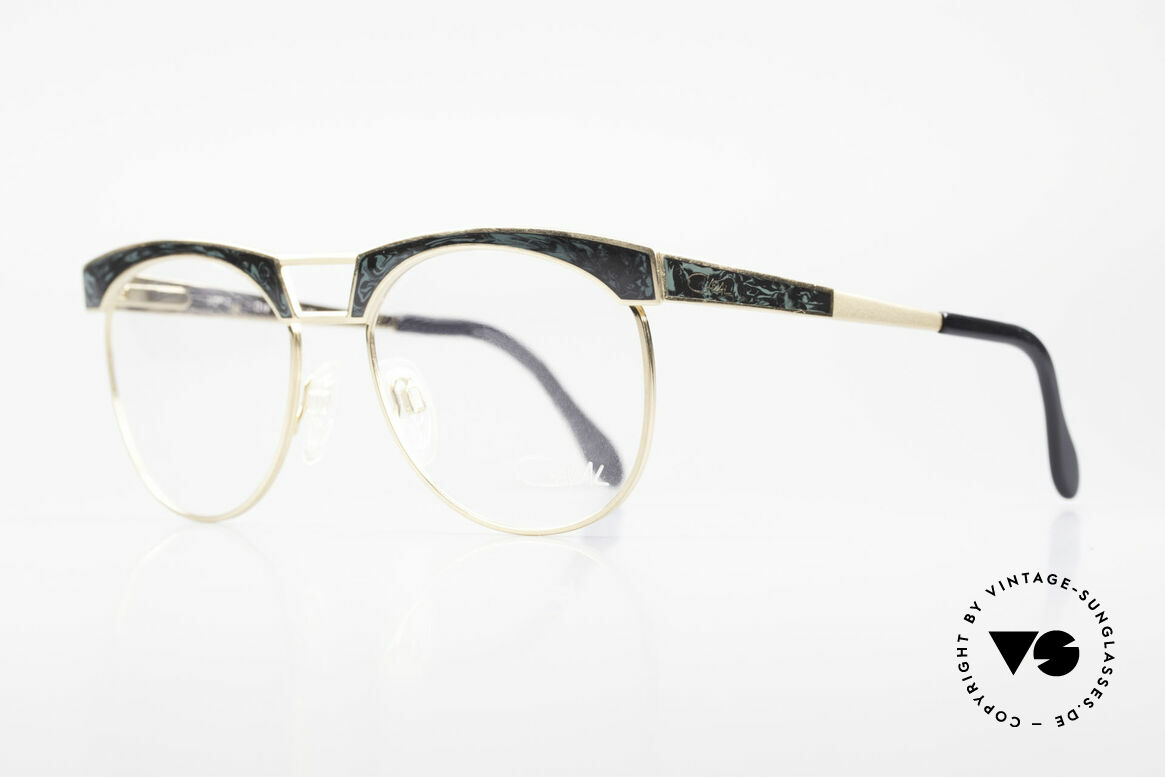 Cazal 741 Panto Style 90's Eyeglasses, bicolor marble imitation (appliqué) on front & temples, Made for Men