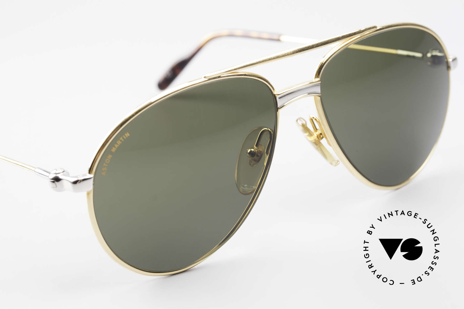 Aston Martin AM02 Aviator Shades James Bond Style, non-reflection mineral lenses with Aston Martin lettering, Made for Men