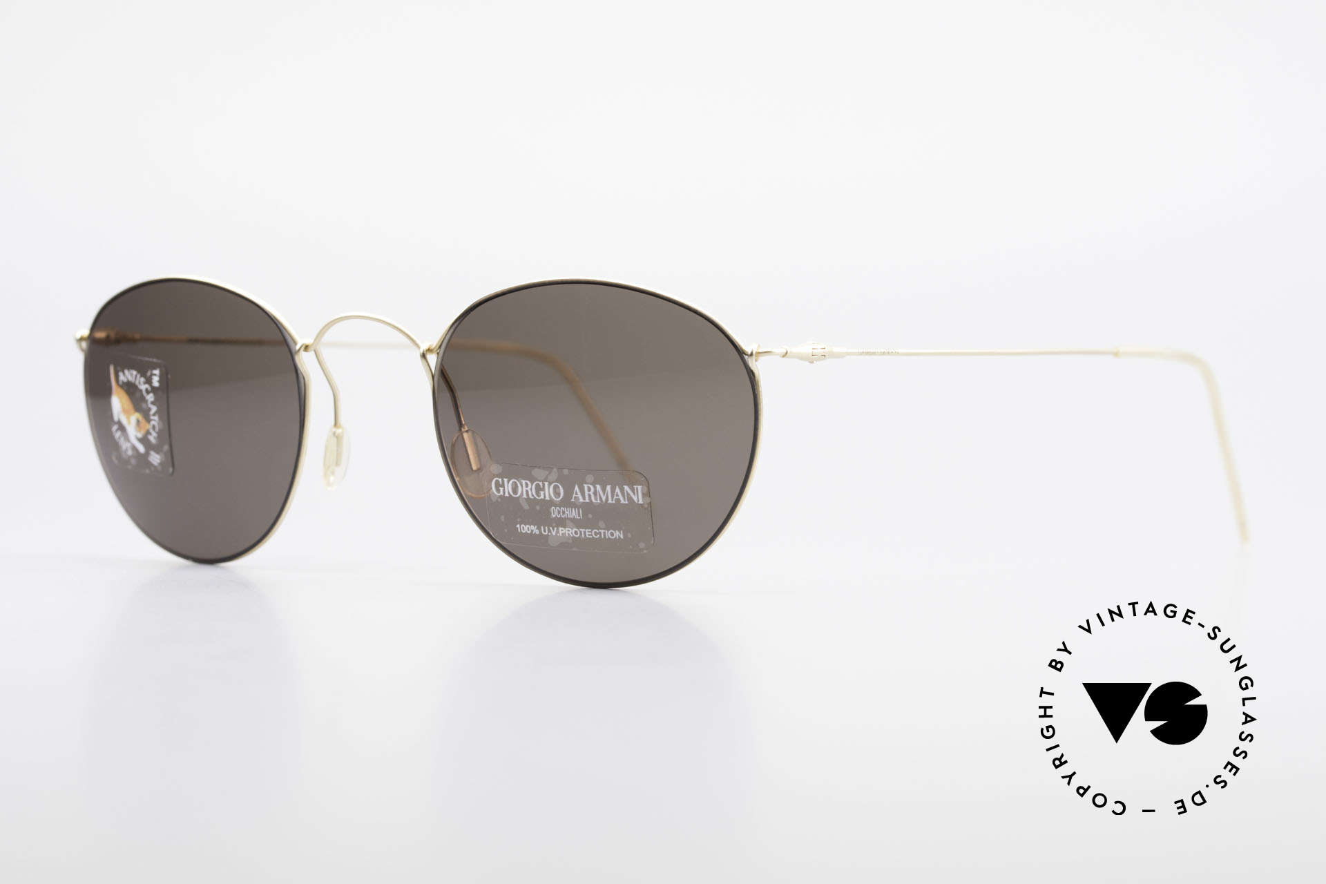 Giorgio Armani 3006 90's Panto Wire Sunglasses, but distinctive and very comfortable (lightweight: 12g), Made for Men