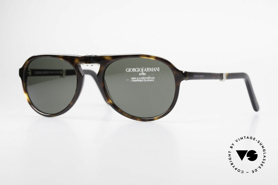 Giorgio Armani 2522 Folding Aviator Sunglasses, unique 90's designer sunglasses by Giorgio Armani, Made for Men and Women
