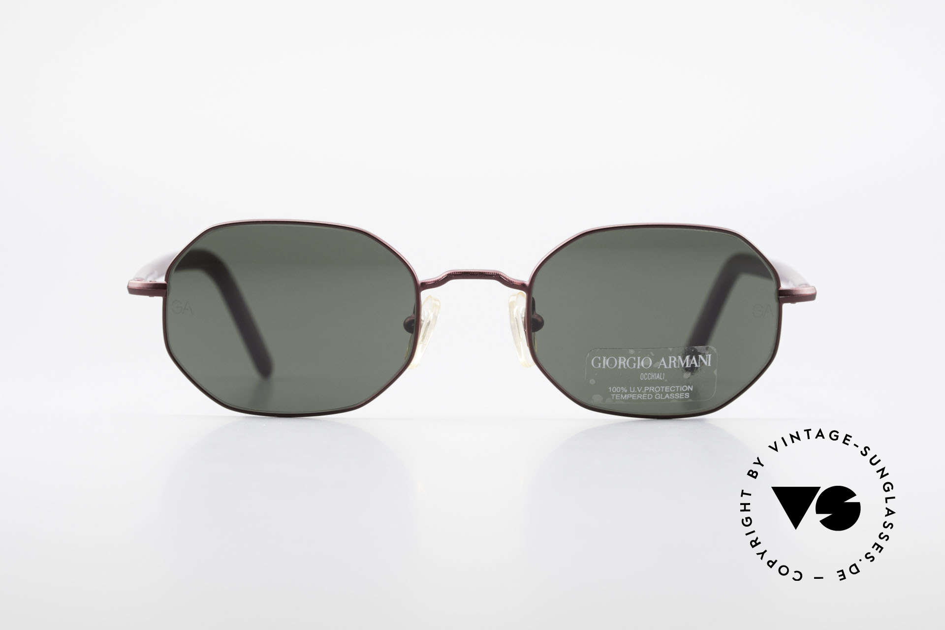 Giorgio Armani 664 Octagonal Vintage Sunglasses, octagonal metal frame, TOP quality, ruby-colored, Made for Men and Women