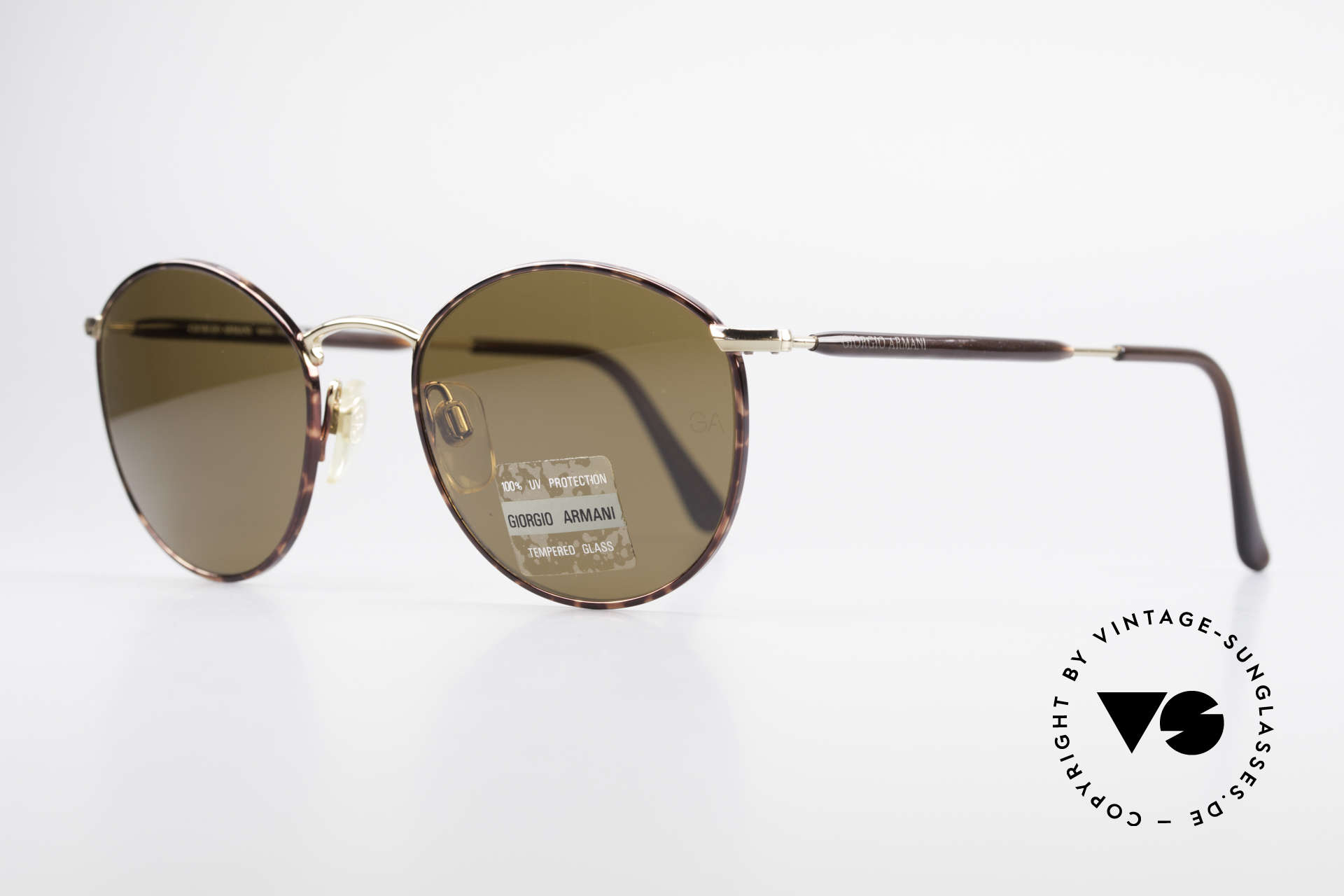 Giorgio Armani 627 Vintage Panto Sunglasses, premium craftsmanship and timeless brown coloring, Made for Men and Women