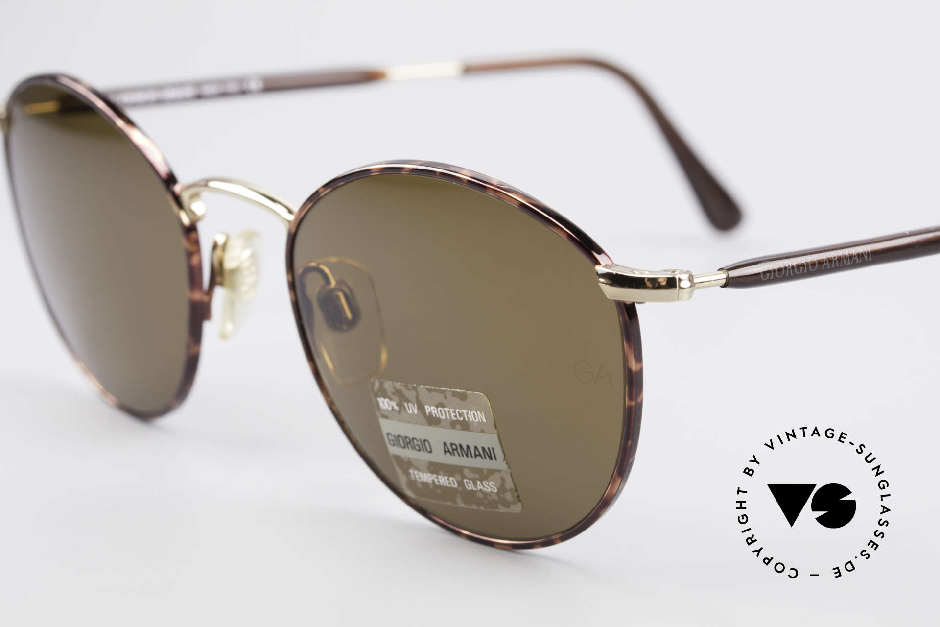 Giorgio Armani 627 Vintage Panto Sunglasses, high-end mineral lenses (100% UV) with GA engraving, Made for Men and Women
