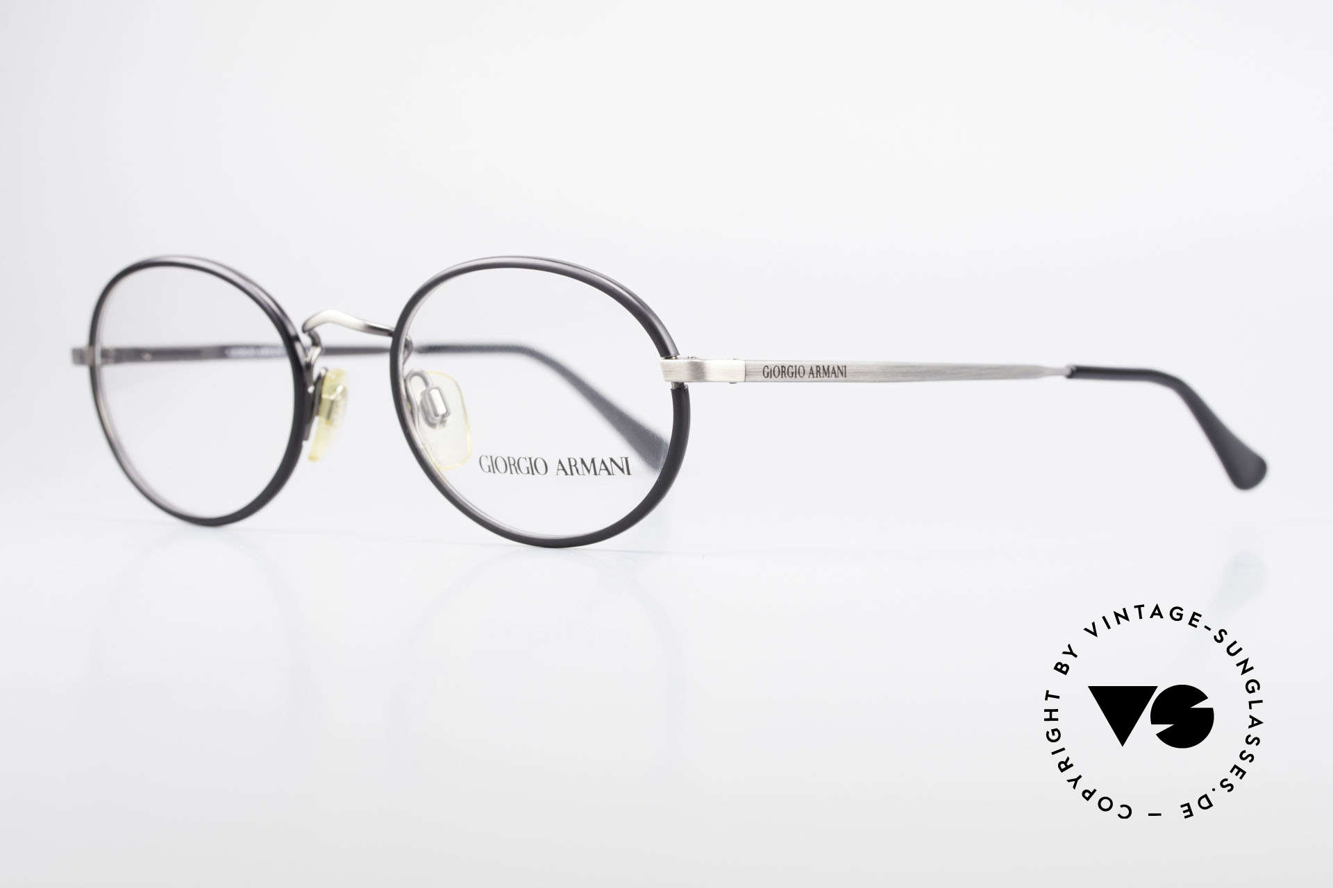 Giorgio Armani 235 Oval Vintage 80's Eyeglasses, 'antique metal' finished frame + black windsor rings, Made for Men and Women