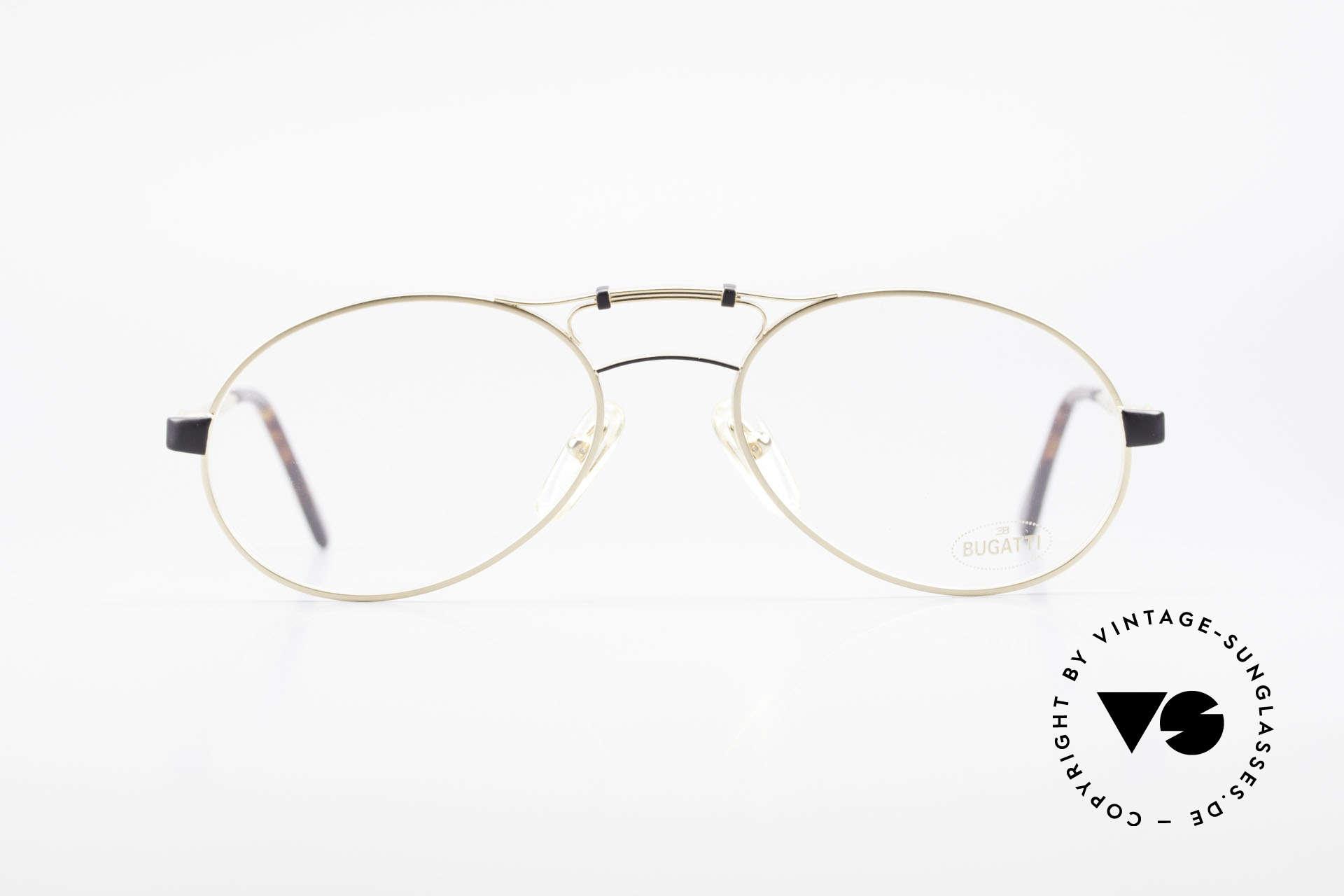 Bugatti 13411 Vintage Men's Eyeglass Frame, utterly high-grade finish in matt gold and matt black, Made for Men