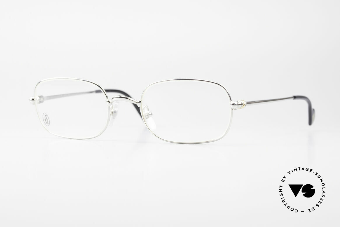 Cartier Deimios Square Frame Luxury Platinum, square CARTIER vintage eyeglasses in size 52/21, 135, Made for Men and Women
