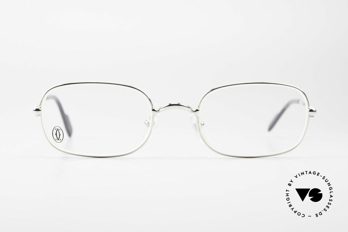 Cartier Deimios Square Frame Luxury Platinum, unisex model of the 'THIN RIM' Collection by Cartier, Made for Men and Women