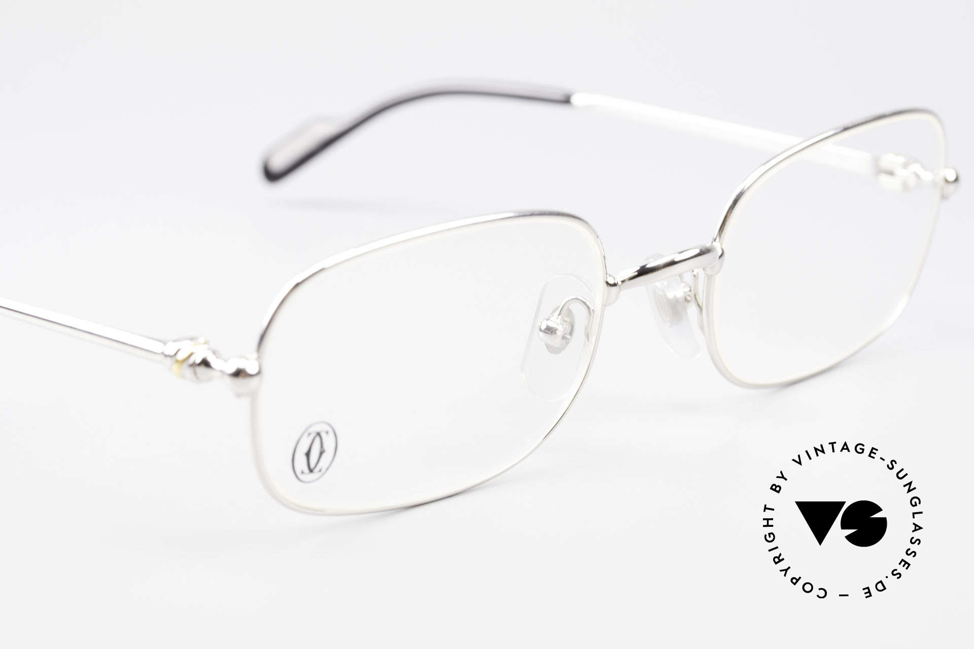 Cartier Deimios Square Frame Luxury Platinum, comes with an extra vintage leather case by GENTA, Made for Men and Women