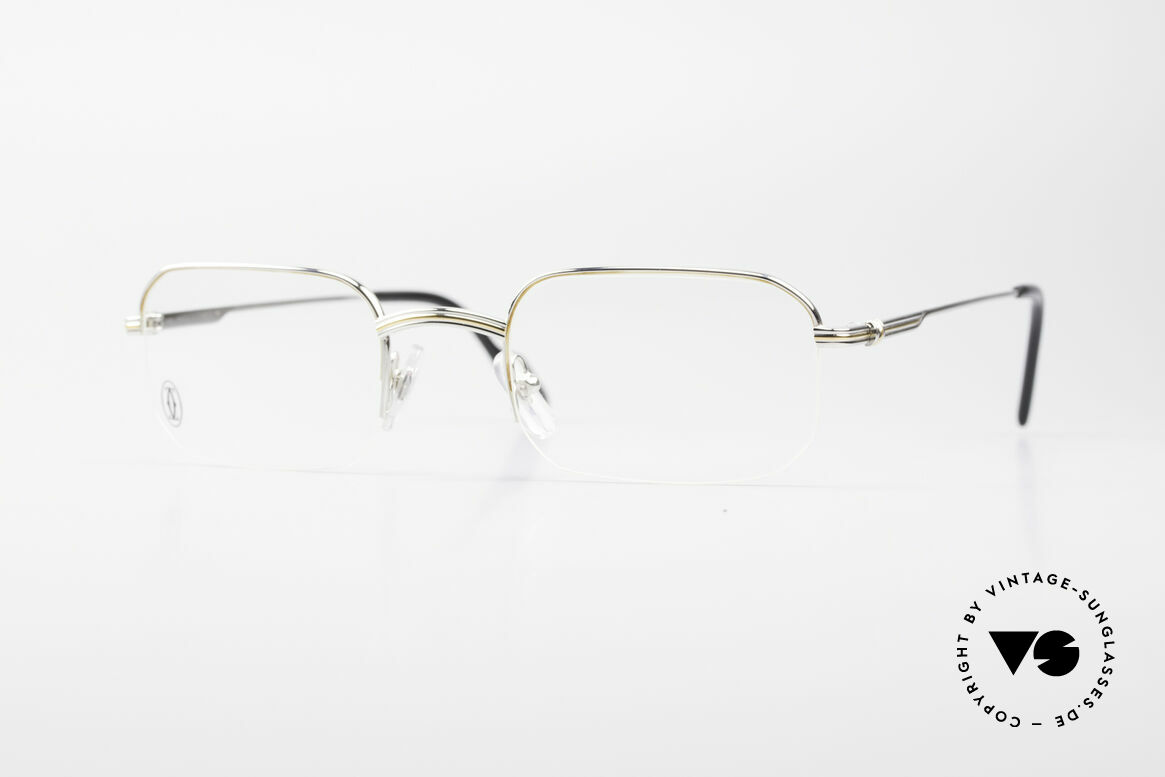 Cartier Broadway Semi Rimless Platinum Frame, square CARTIER vintage eyeglasses in size 51/23, 140, Made for Men
