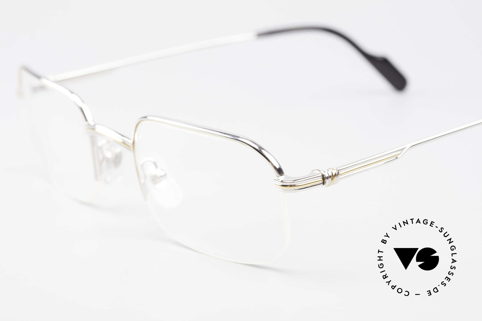Cartier Broadway Semi Rimless Platinum Frame, unworn luxury frame with original box and booklets, Made for Men