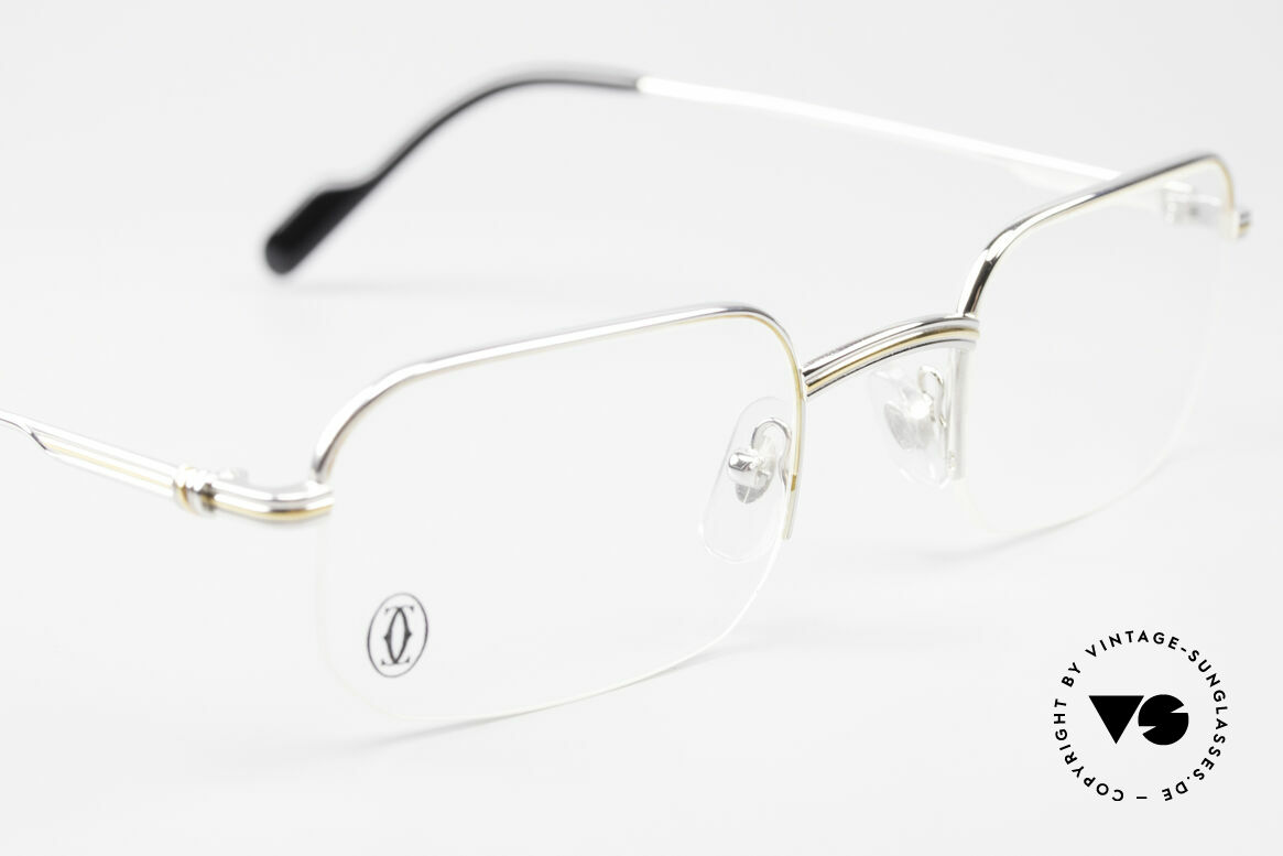 Cartier Broadway Semi Rimless Platinum Frame, comes with an extra vintage leather case by GENTA, Made for Men