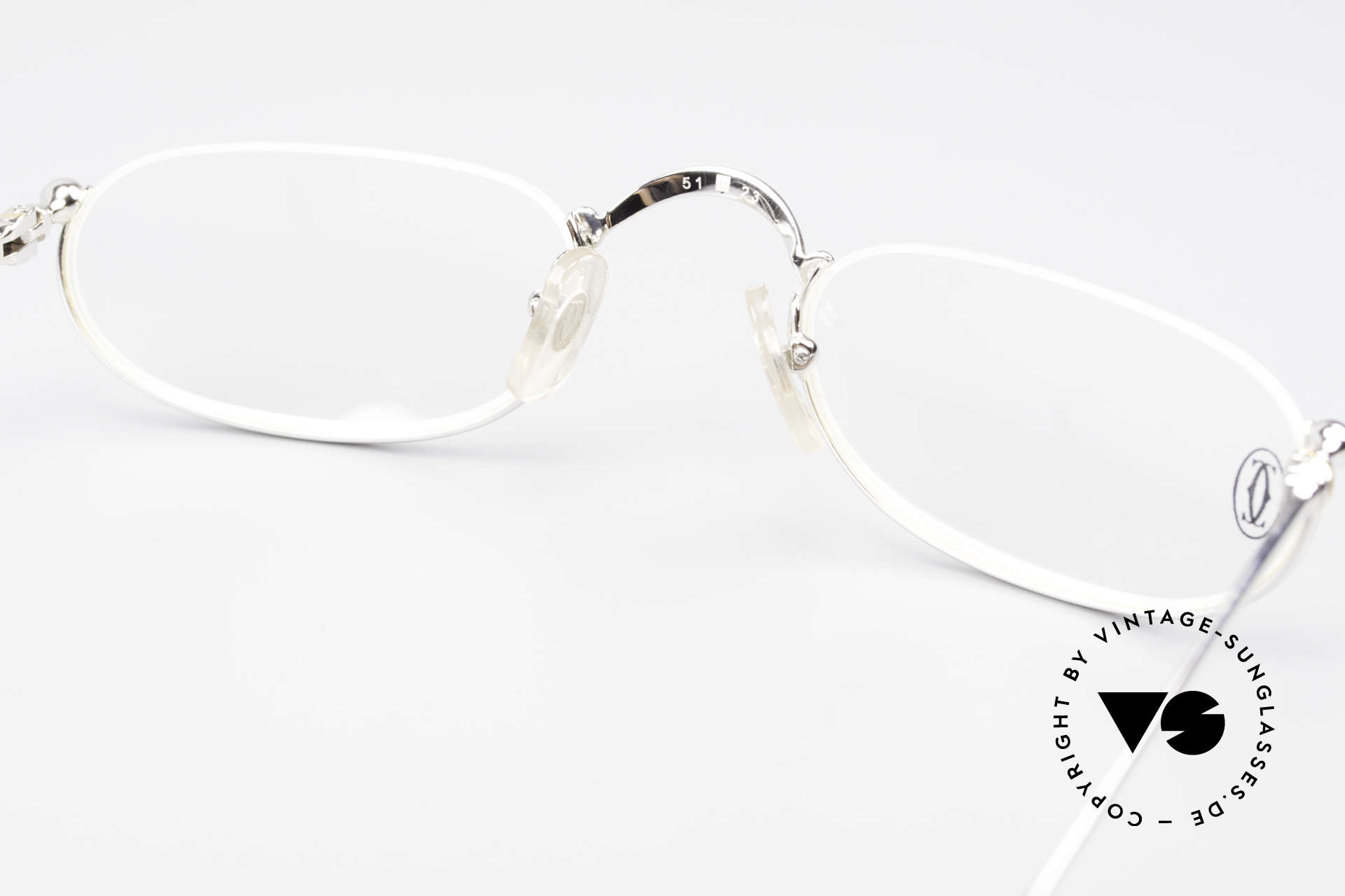 Cartier Demi Lune 2000 Oval Reading Frame Platinum, NO retro eyeglasses; an old original from app. 2000!, Made for Men and Women
