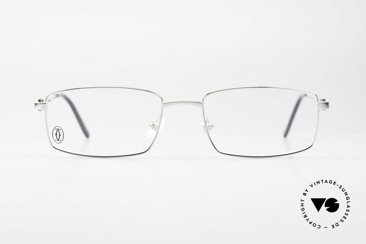 Cartier River - S Square Luxury Platinum Frame, square Cartier vintage eyeglasses in size 54/18, 140, Made for Men