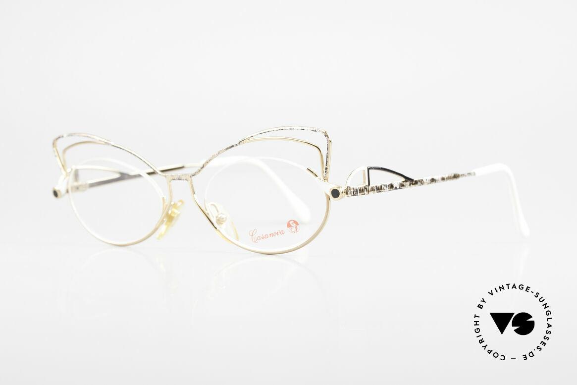 Casanova LC2 Enchanting Ladies Eyeglasses, terrific frame pattern in gold, white, gray and black, Made for Women