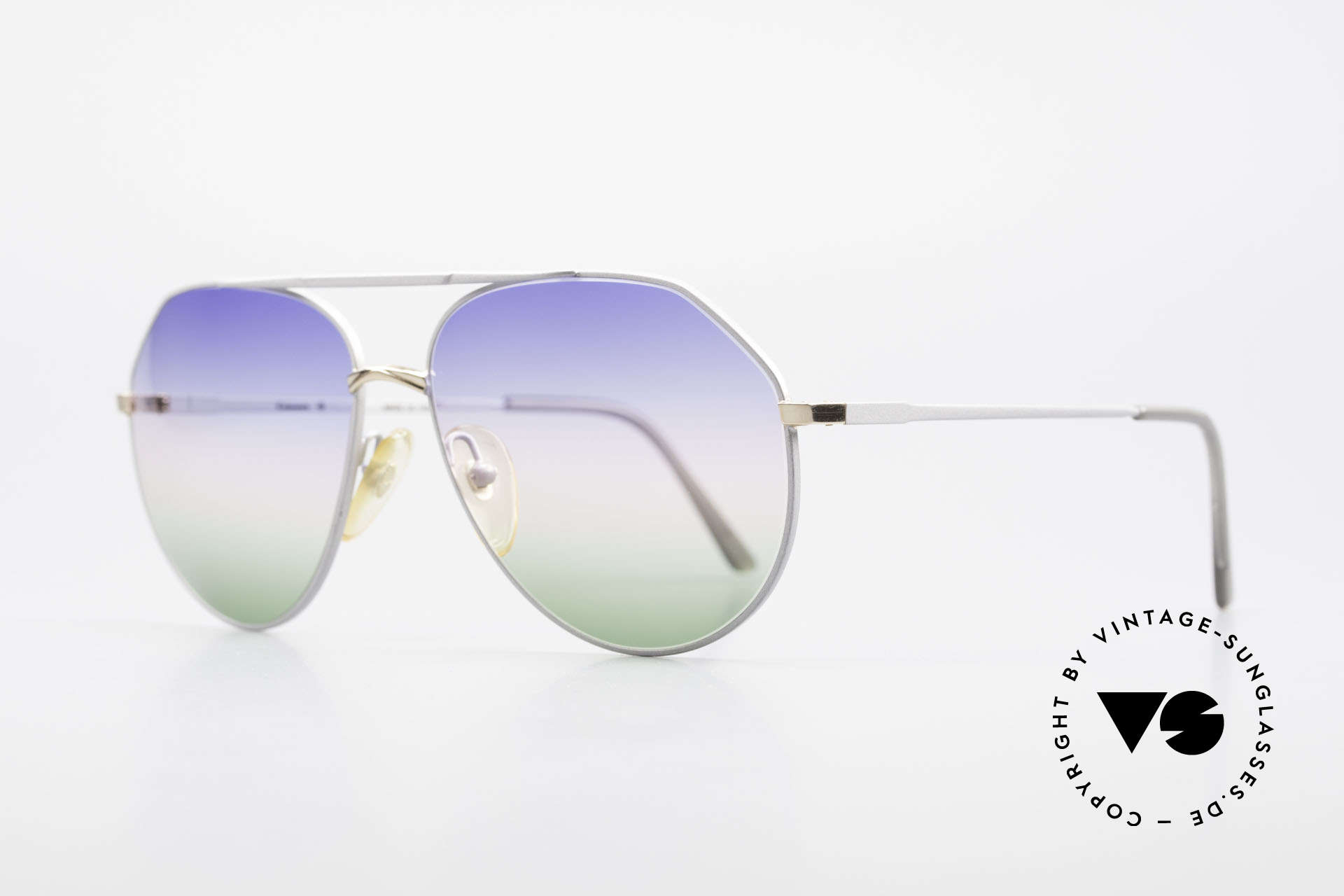 Casanova 6052 Titanium Aviator Sunglasses, tricolored gradient lenses (eye-catching & 100% UV), Made for Men and Women