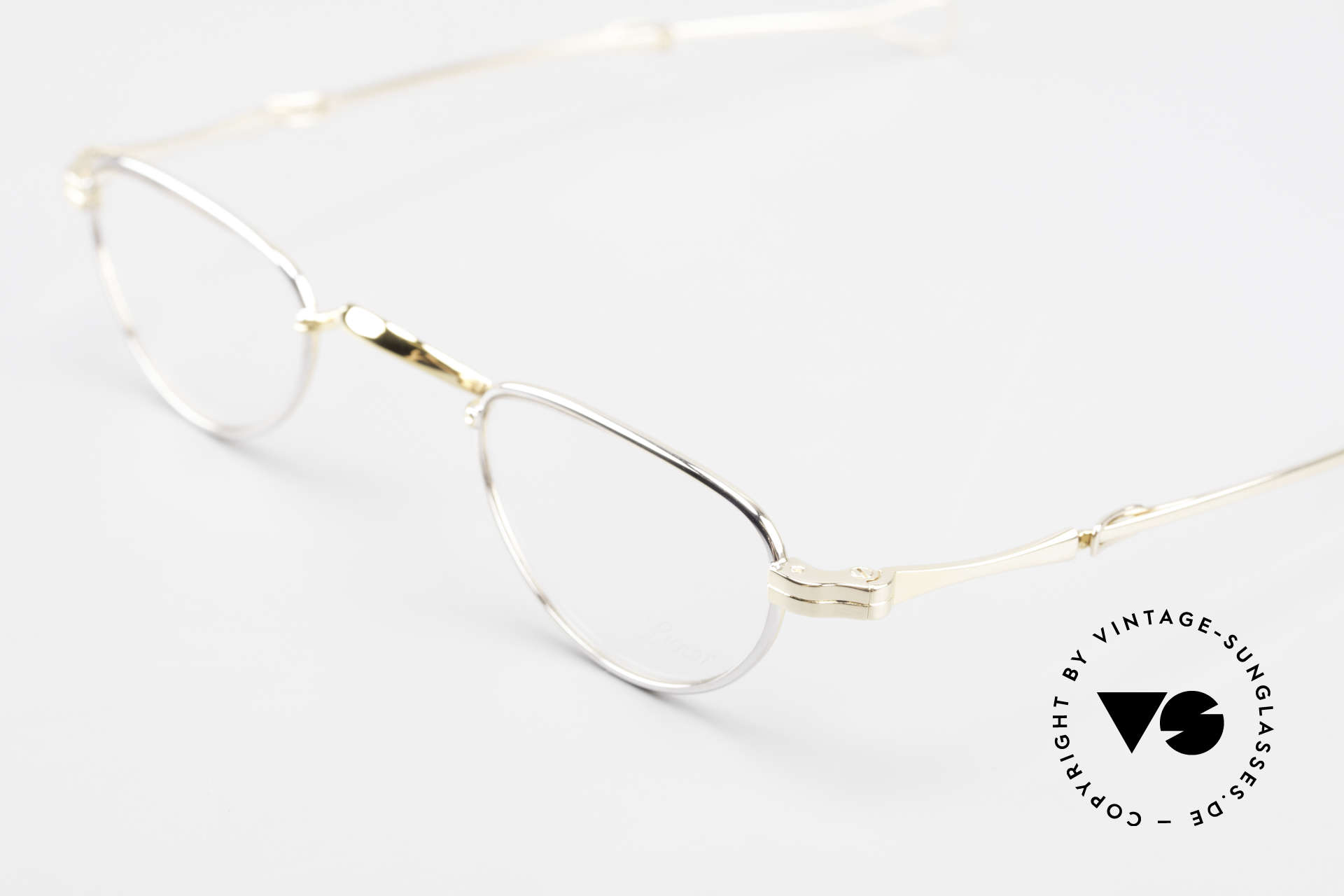 Lunor I 06 Telescopic Extendable Reading Frame, bicolored frame = a combination of gold and silver parts, Made for Men and Women