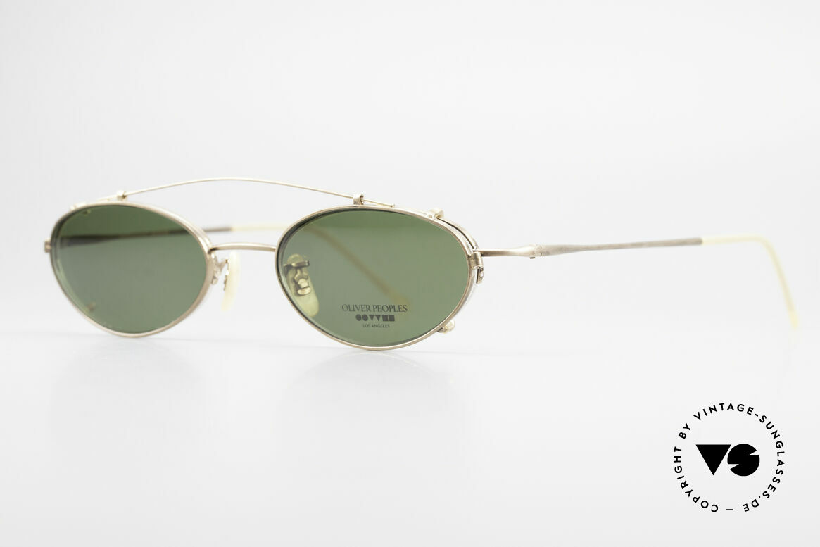 Oliver Peoples OP599 Oval Eyeglass-Frame Clip On, timeless, sober, elegant, (with removable Clip On), Made for Men and Women