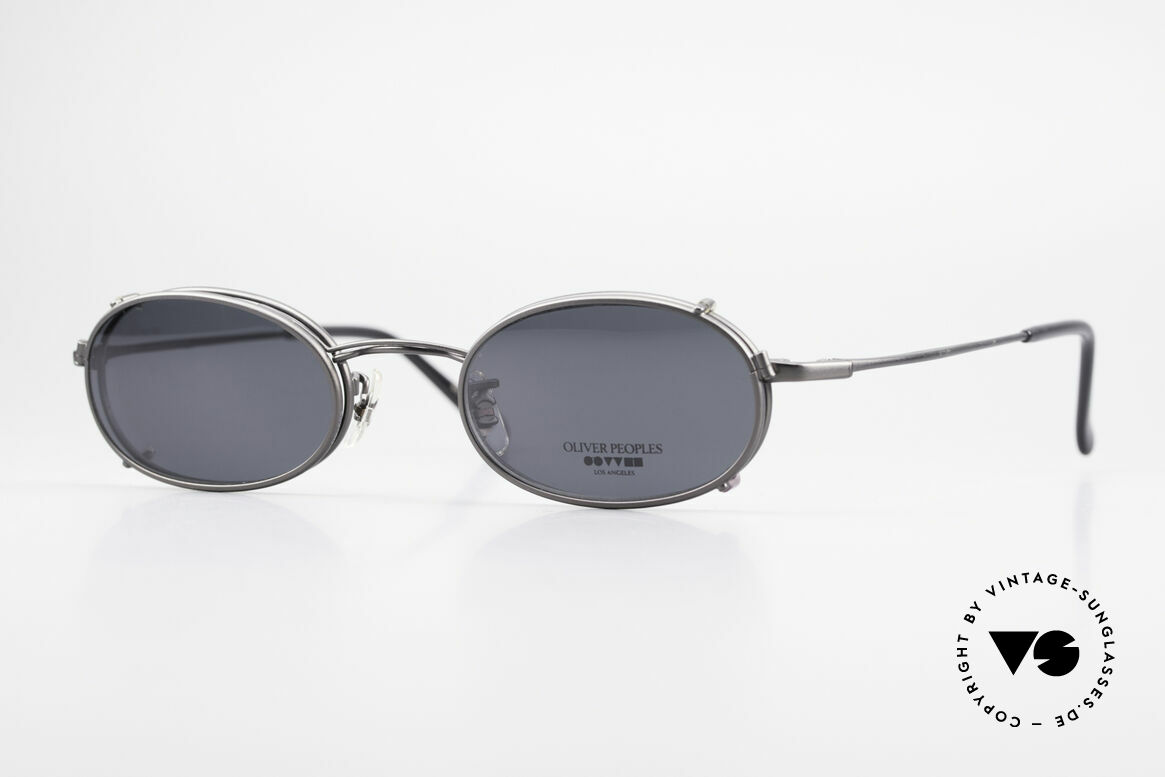 Oliver Peoples OP583 Oval 90's Frame With Sun Clip, vintage Oliver Peoples eyeglasses from the 1990's, Made for Men