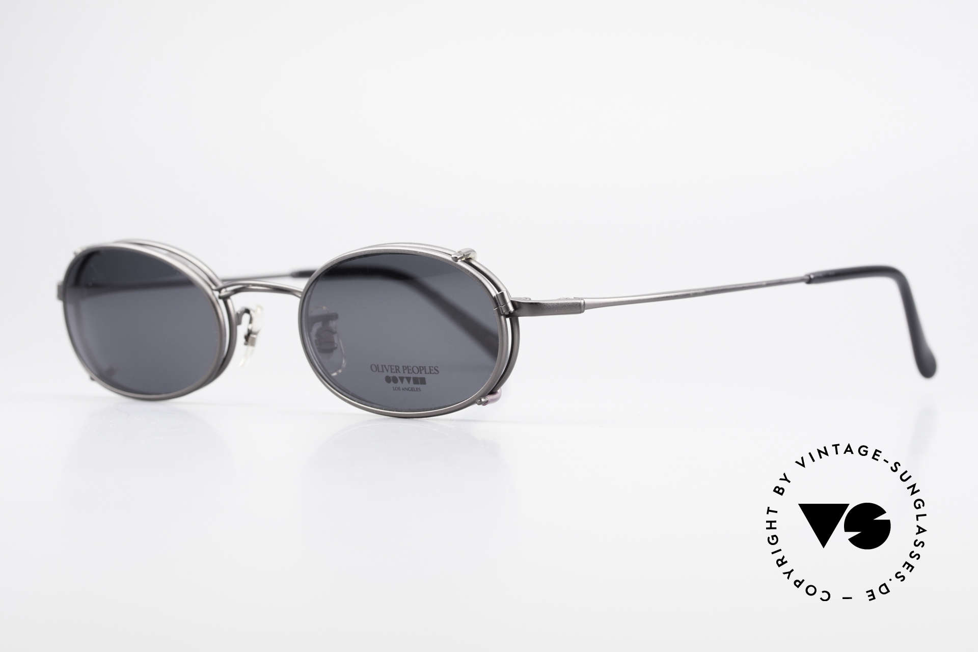 Oliver Peoples OP583 Oval 90's Frame With Sun Clip, timeless, sober, elegant, (with removable Clip On), Made for Men