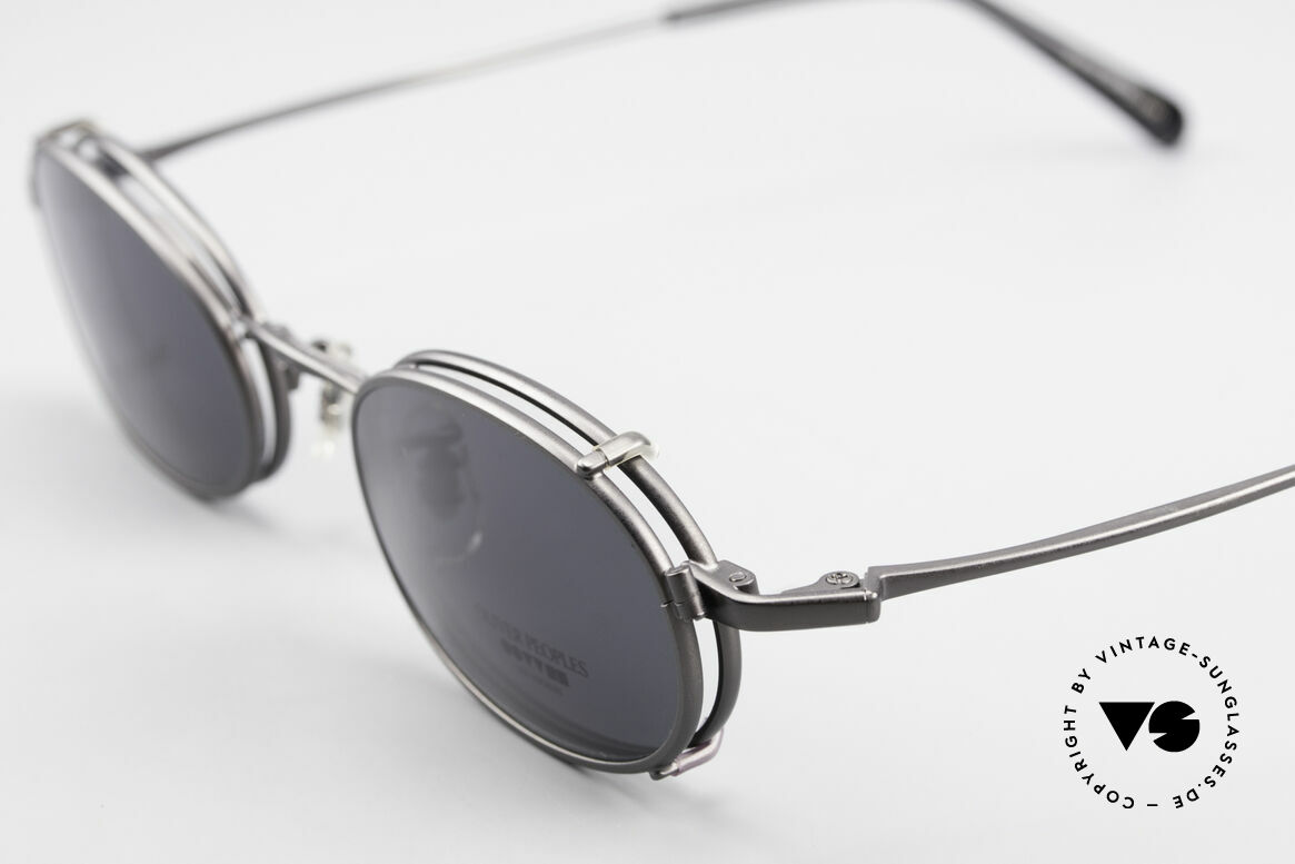 Oliver Peoples OP583 Oval 90's Frame With Sun Clip, unworn (like all our vintage Oliver Peoples glasses), Made for Men