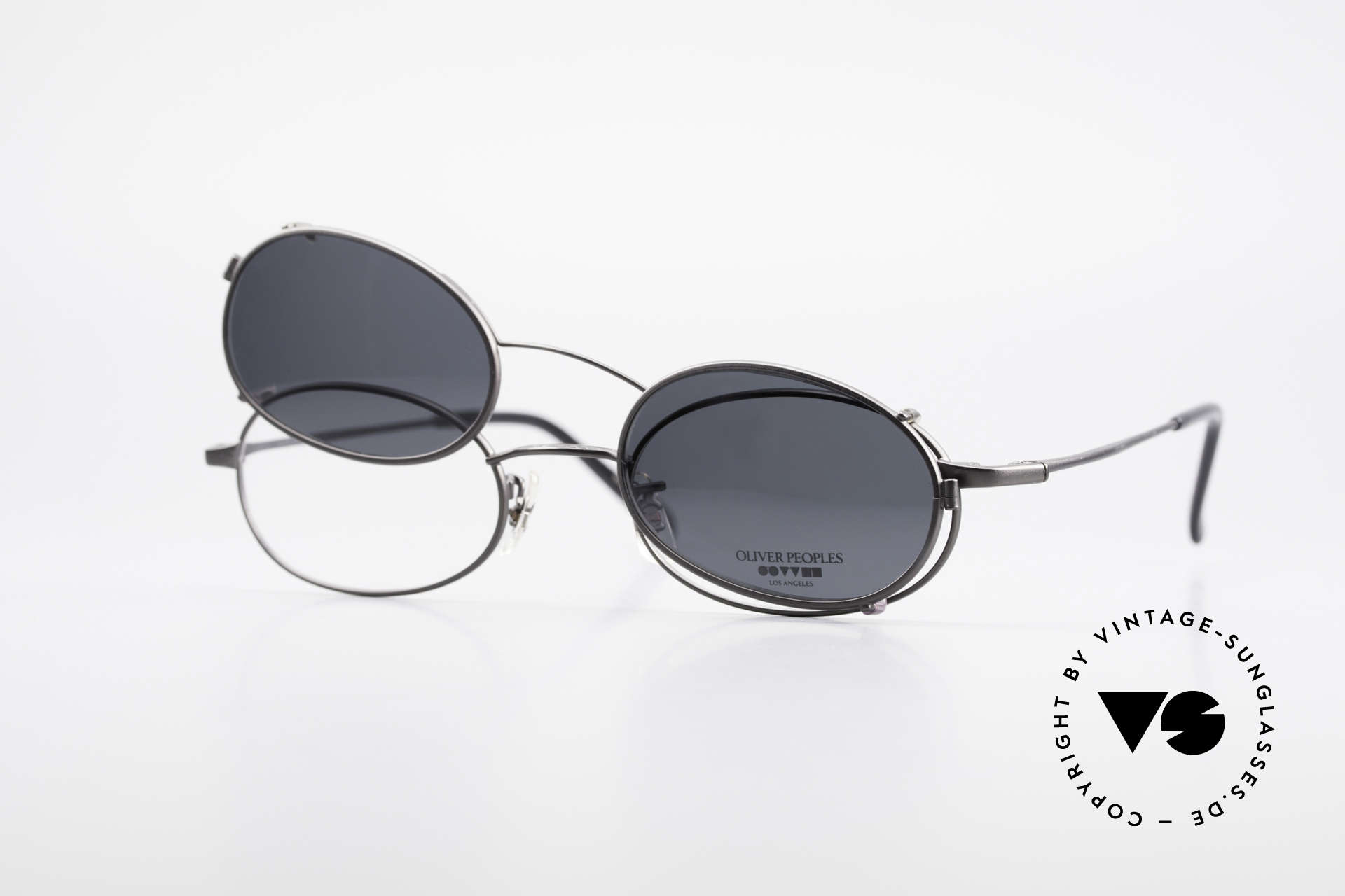 "Oliver Peoples OP583 Oval 90's Frame With Sun Clip, O. Peoples LA = ""distinctive specs with personality"", Made for Men"
