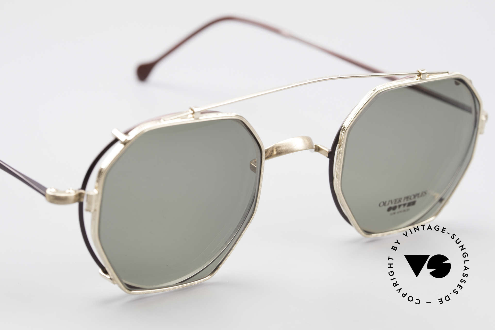 Oliver Peoples OP80BG 90's Vintage Frame Clip On, well, the combination fits & looks cool; one of a kind!, Made for Men and Women