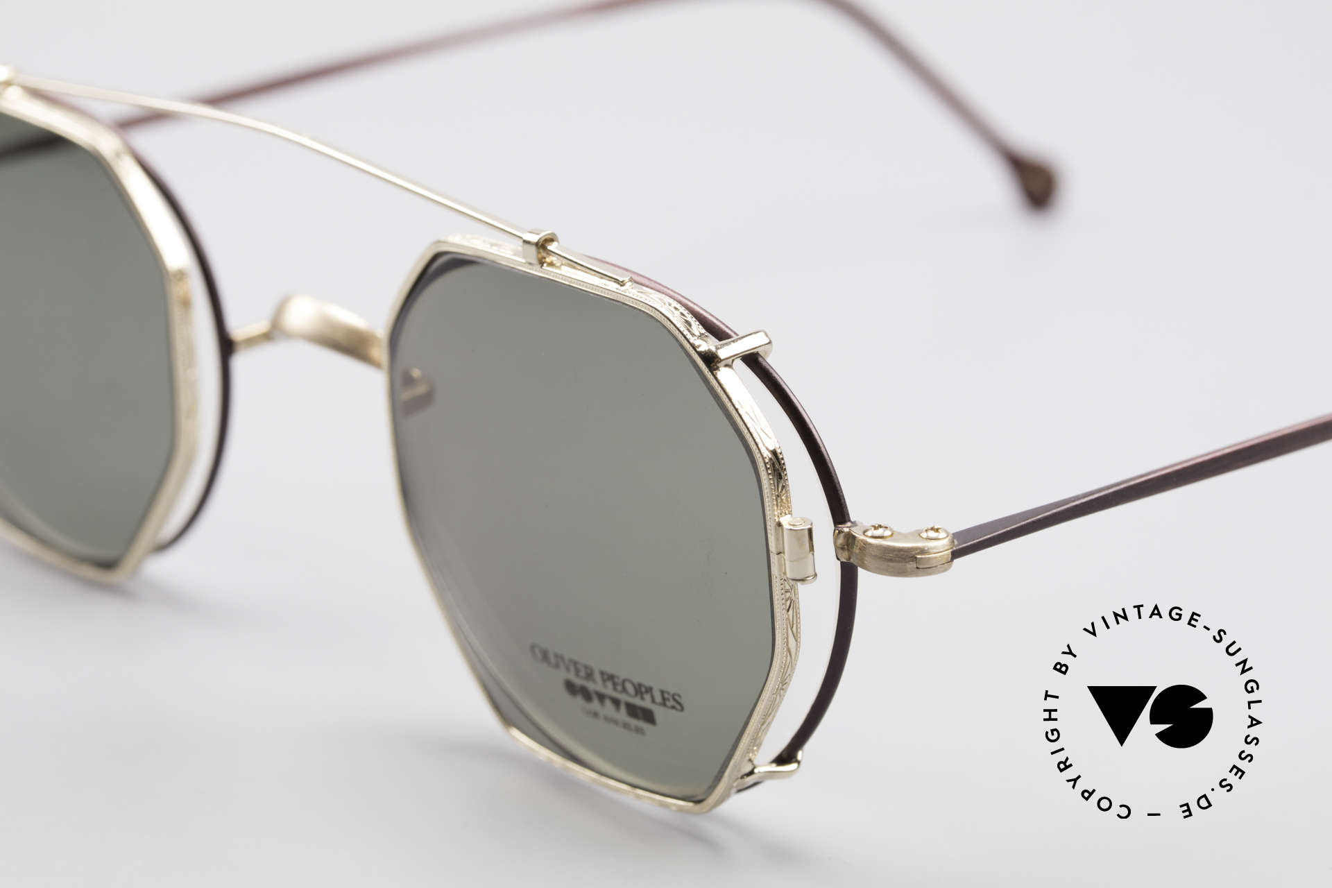 Oliver Peoples OP80BG 90's Vintage Frame Clip On, with square Clip-On of O.Peoples model OP-14 in gold, Made for Men and Women