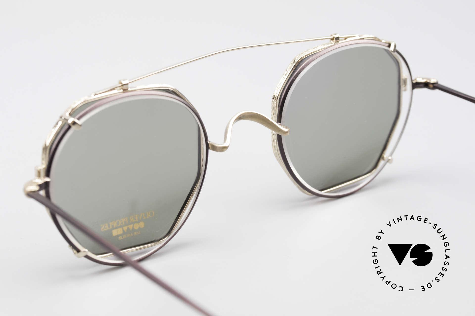 Oliver Peoples OP80BG 90's Vintage Frame Clip On, unworn, NOS (like all our rare Oliver Peoples eyewear), Made for Men and Women
