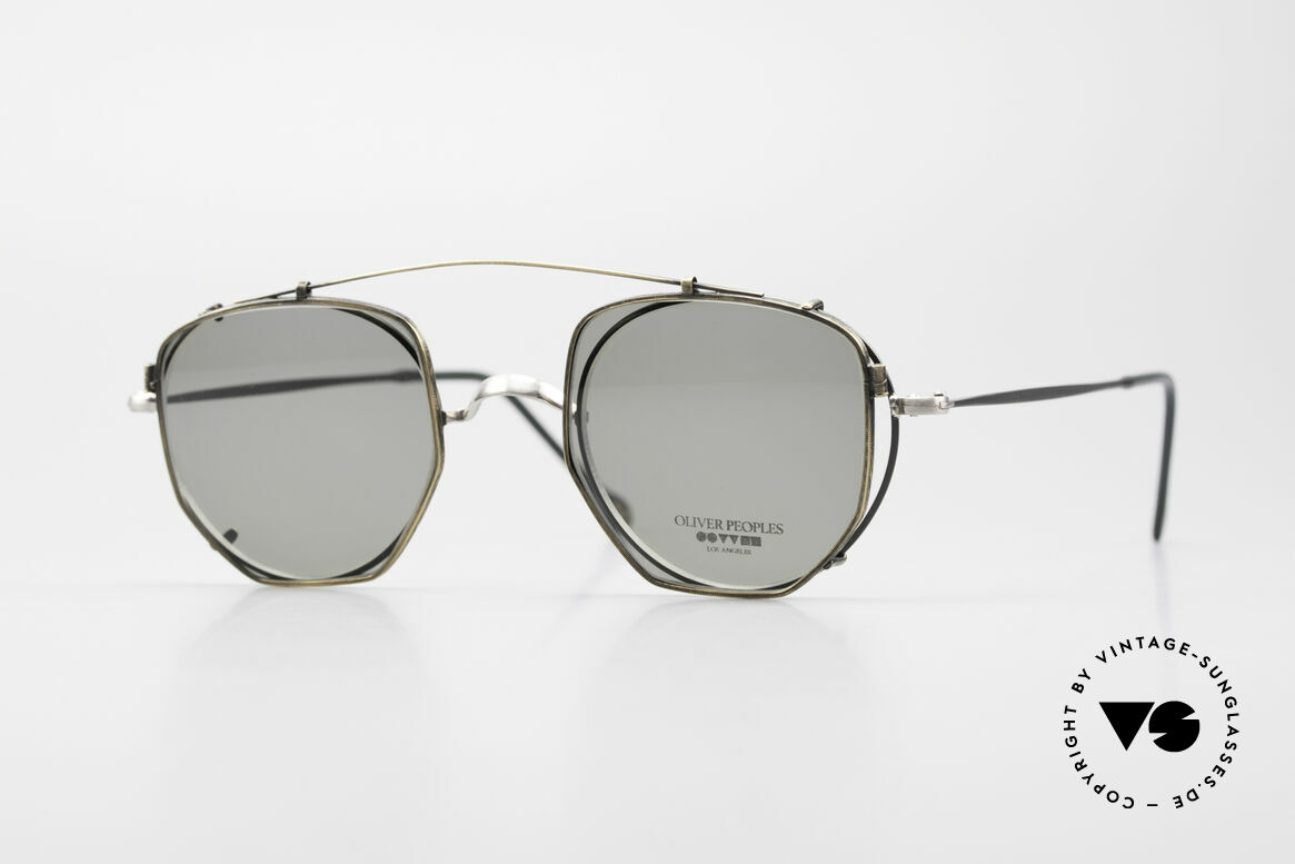 Oliver Peoples OP80BC Round Frame Square Clip On, vintage Oliver Peoples sunglasses from the early 90's, Made for Men and Women