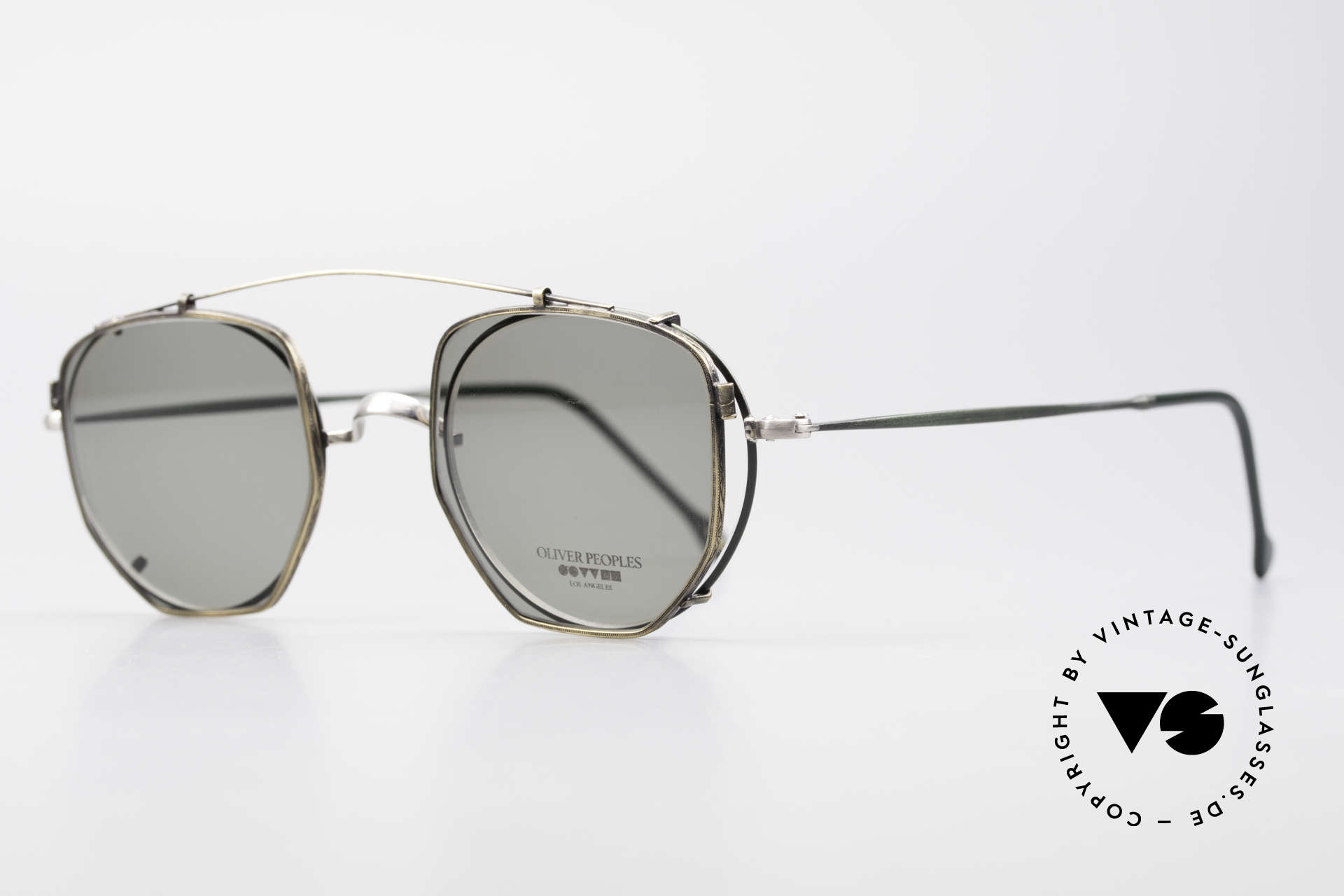 Oliver Peoples OP80BC Round Frame Square Clip On, round mod. OP80BC with fir green/silver  frame finish, Made for Men and Women