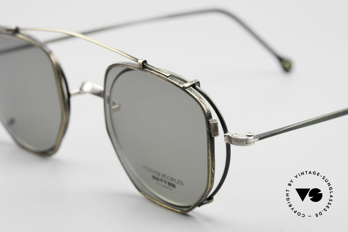 Oliver Peoples OP80BC Round Frame Square Clip On, with square Clip-On of O.Peoples mod. OP-17 in brass, Made for Men and Women